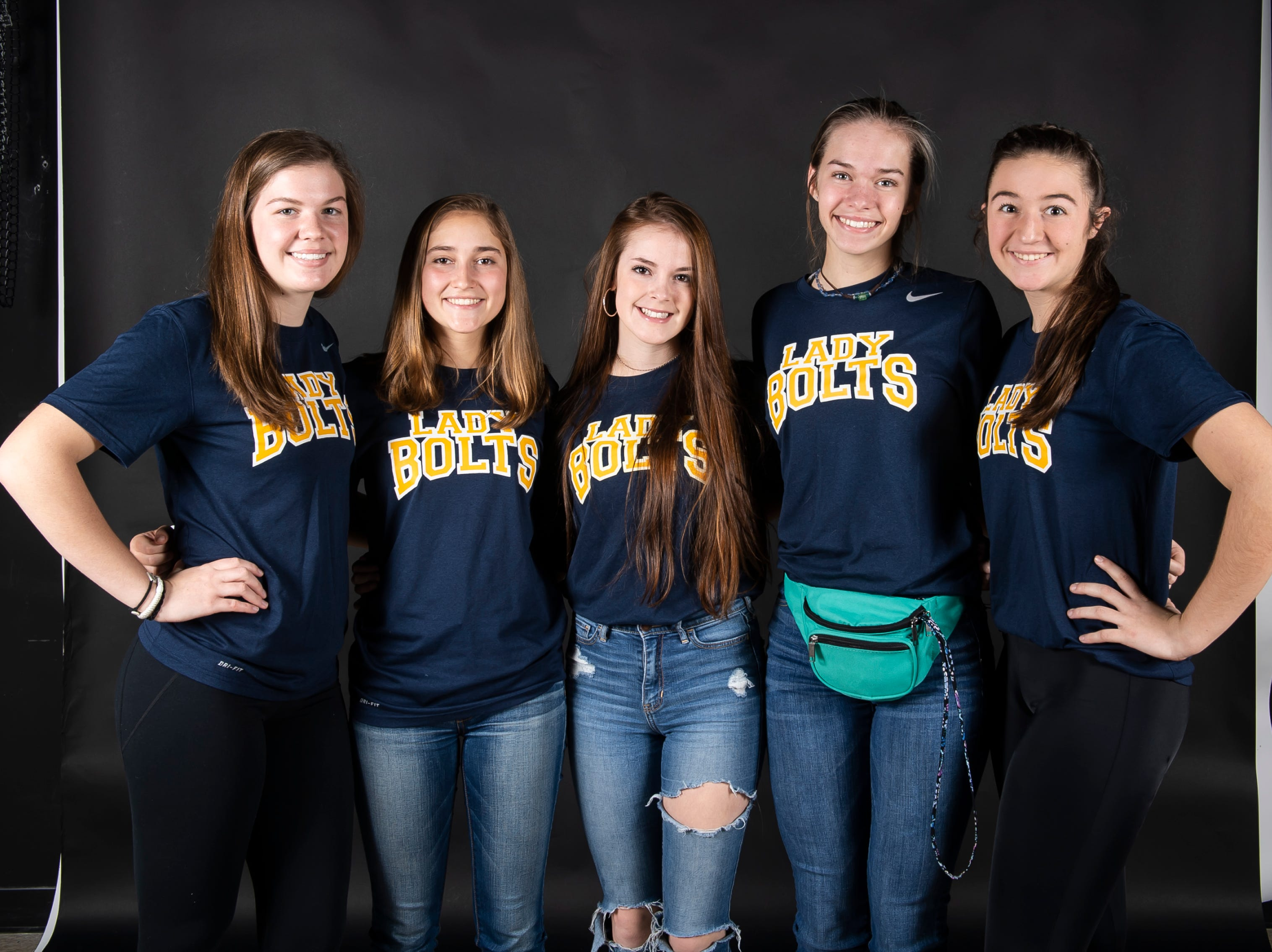 (From left) Littlestown softball players Kacie Frock, Carter Clabaugh, Jada Mummert, Caitlin Eader and Amaya Bowman pose in the GameTimePA photo booth during spring sports media day in York Sunday, March 10, 2019.