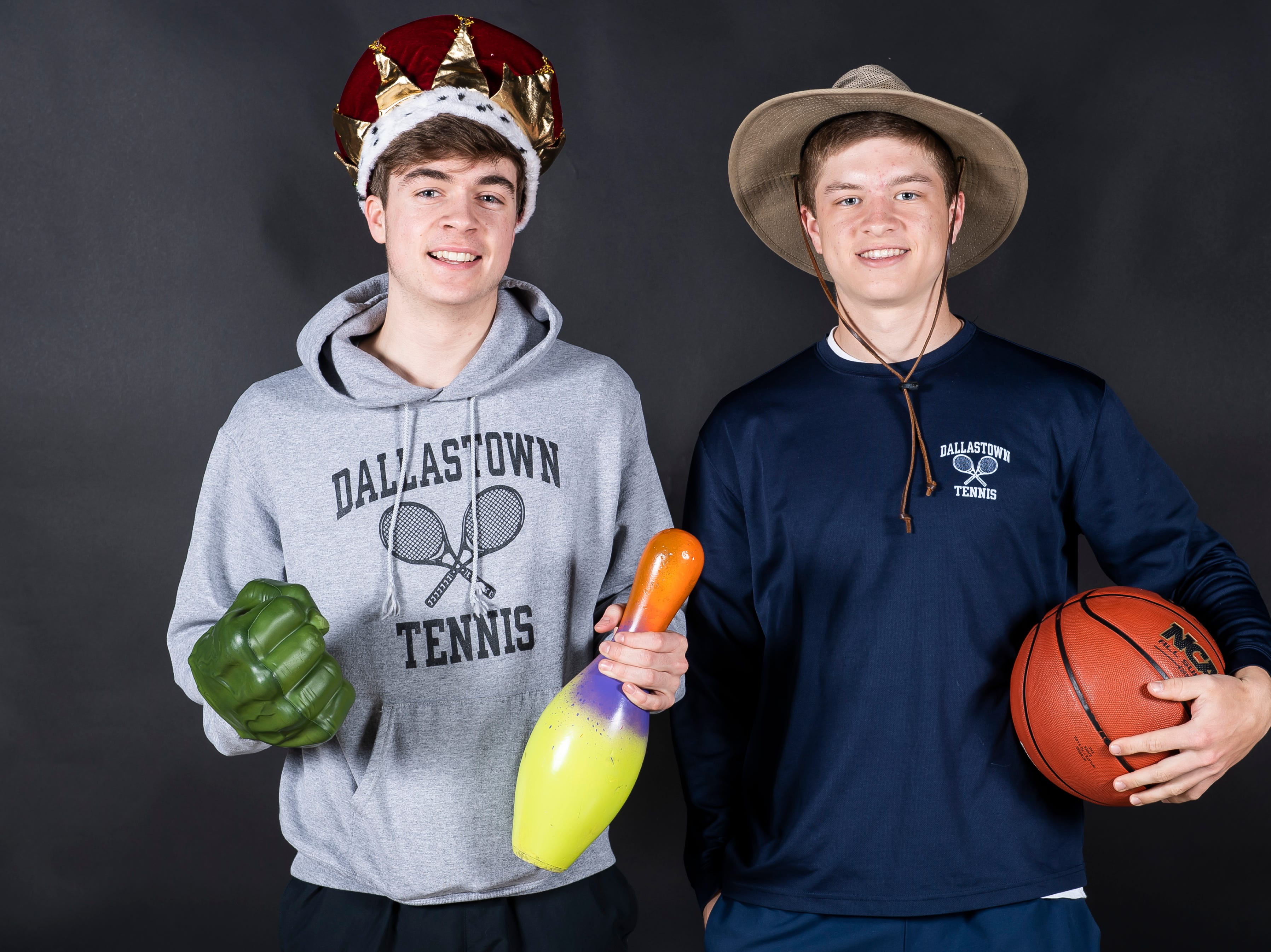 (From left) Dallastown tennis players Sebastian May and Holden Koons strike a pose in the GameTimePA photo booth during spring sports media day in York Sunday, March 10, 2019.