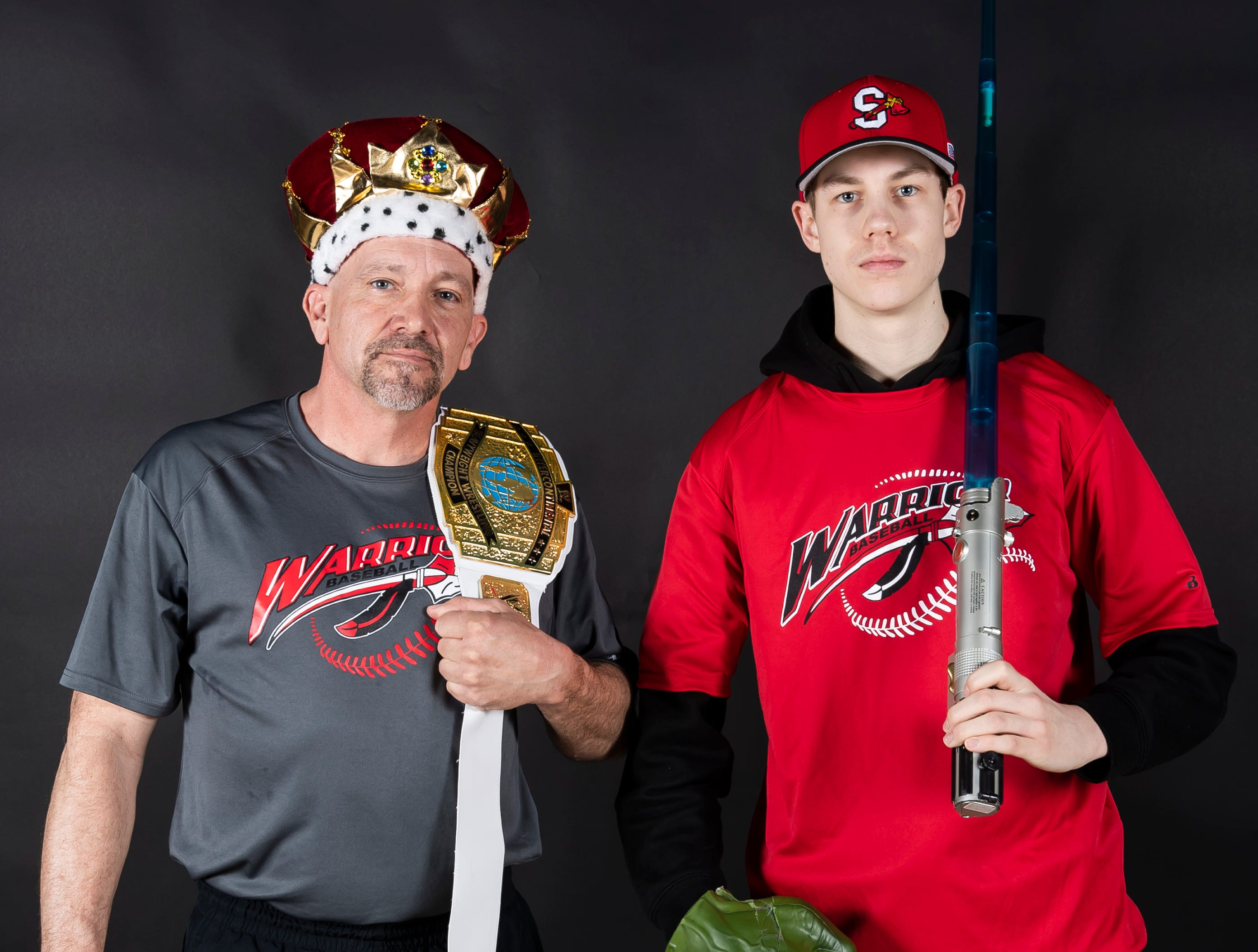 Susquehannock baseball coach Chad Farmer and player Noah Miller strike a pose in the GameTimePA photo booth during spring sports media day in York Sunday, March 10, 2019.