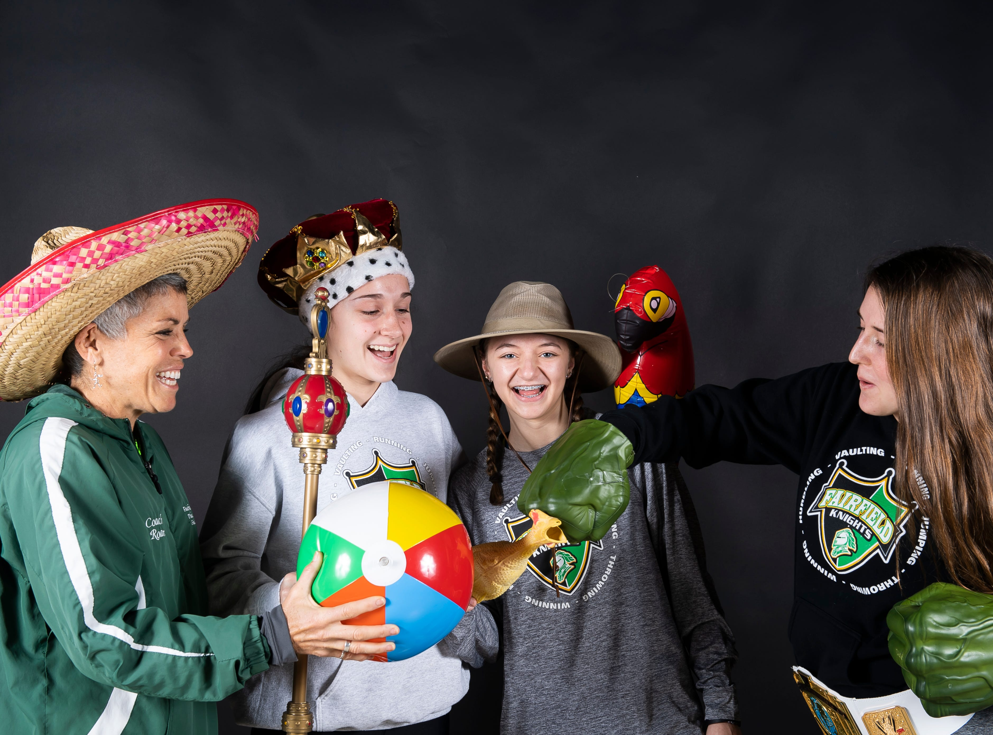 The Fairfield girls track and field team strike a pose in the GameTimePA photo booth during spring sports media day in York Sunday, March 10, 2019.