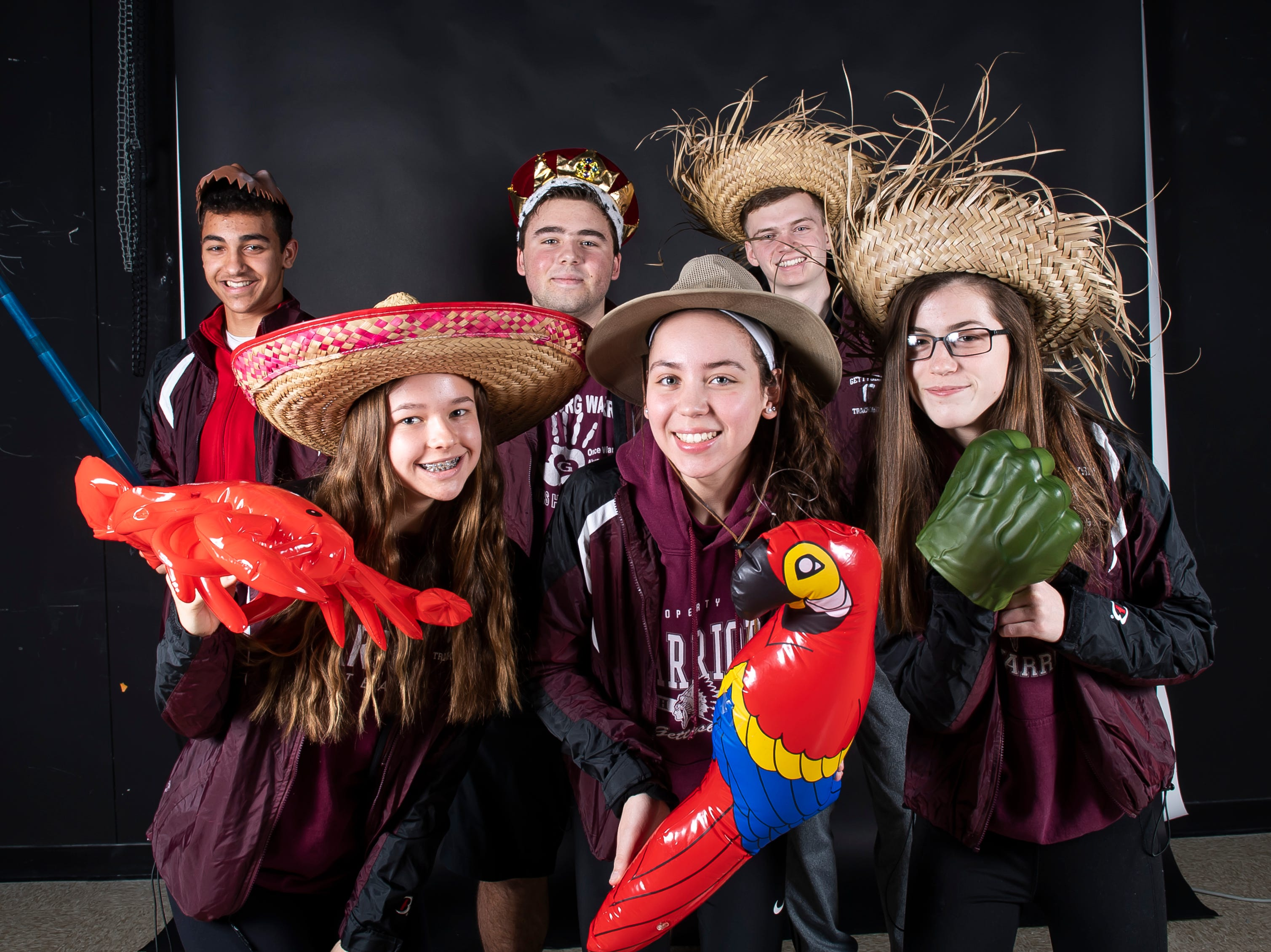 (From back left) Gettysburg track and field athletes Noah Sanders, Cory Bixler, Andrew Hirneisen, Lora Betram, Sidney Shelton and Kelty Oaster strike a pose in the GameTimePA photo booth during spring sports media day in York Sunday, March 10, 2019.