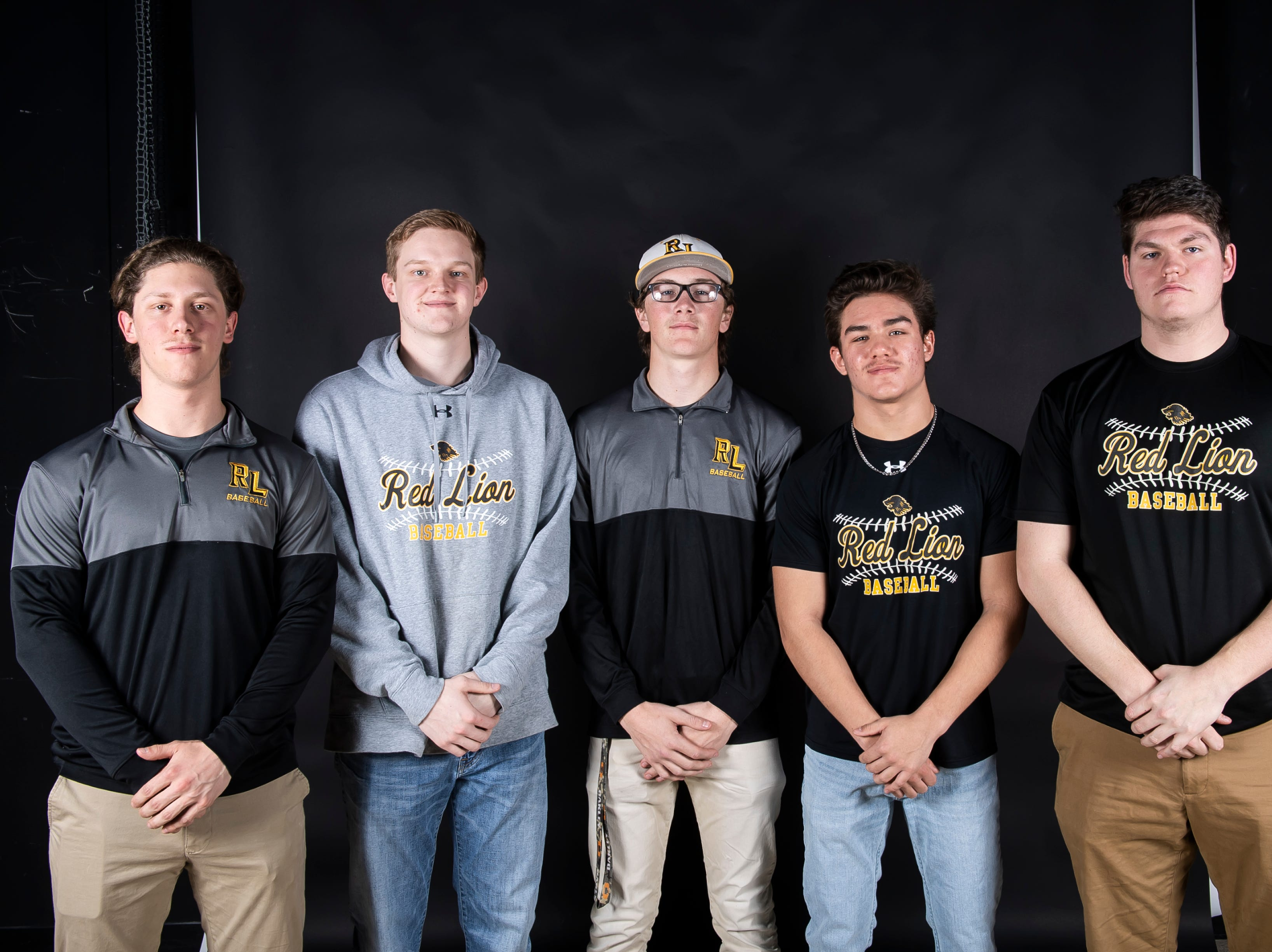 (From left) Red Lion baseball players C.J. Czerwinski, Nate Hodgkinson, Channing Bratton, Cole Daugherty and Sean Glatfelter pose in the GameTimePA photo booth during spring sports media day in York Sunday, March 10, 2019.