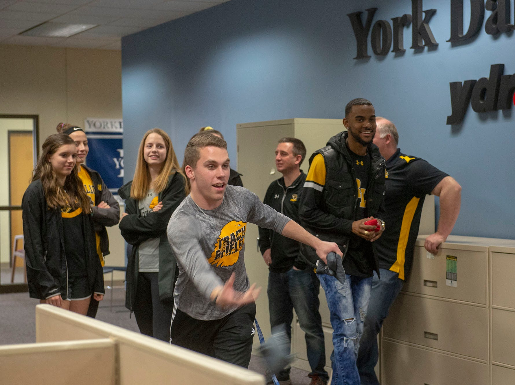 Red Lion's track and field team hung out at the long-distance cornhold toss during GameTimePA's YAIAA Spring Media Day on Sunday, March 10, 2019.