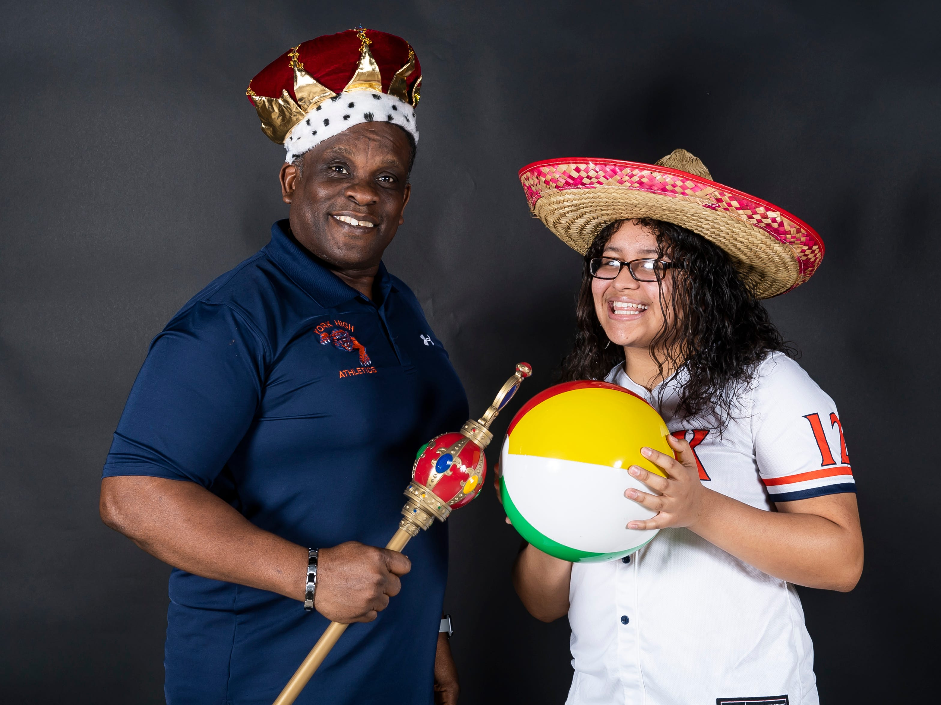 York High softball Eric Cox and player Jesska Moreno strike a pose in the GameTimePA photo booth during spring sports media day in York Sunday, March 10, 2019.