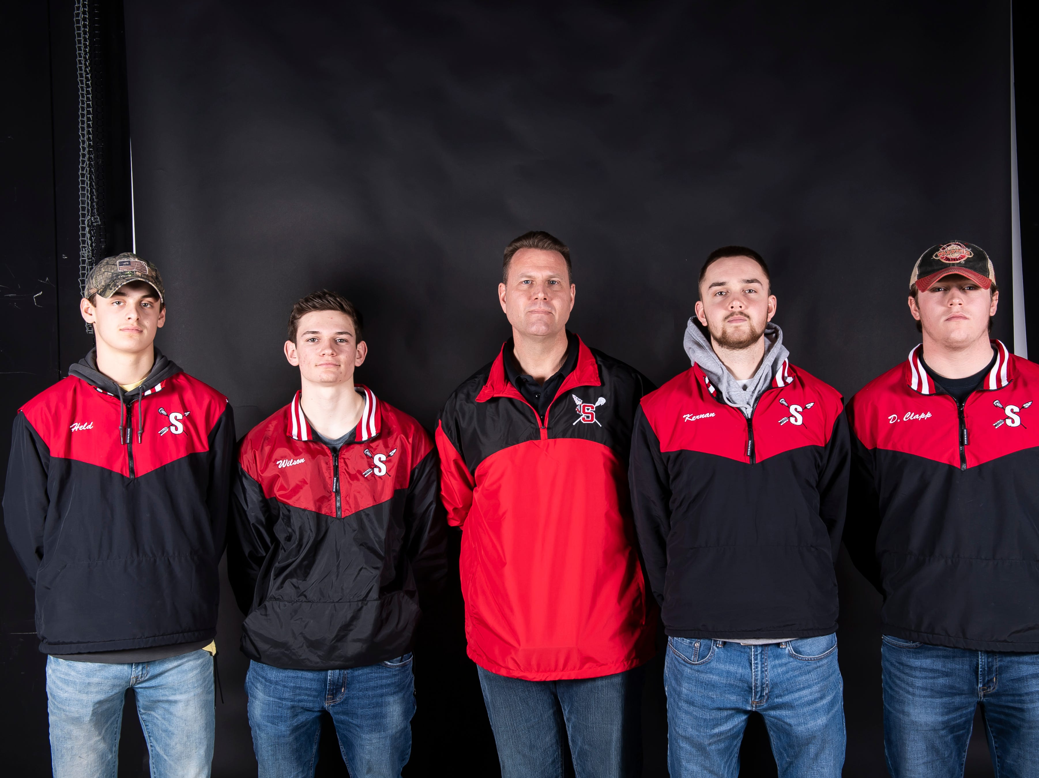 (From left) Susquehannock lacrosse's Gavin Held, Ben Wilson, coach Tom Mayne, Connor Kernan and Daniel Clapp pose in the GameTimePA photo booth during spring sports media day in York Sunday, March 10, 2019.