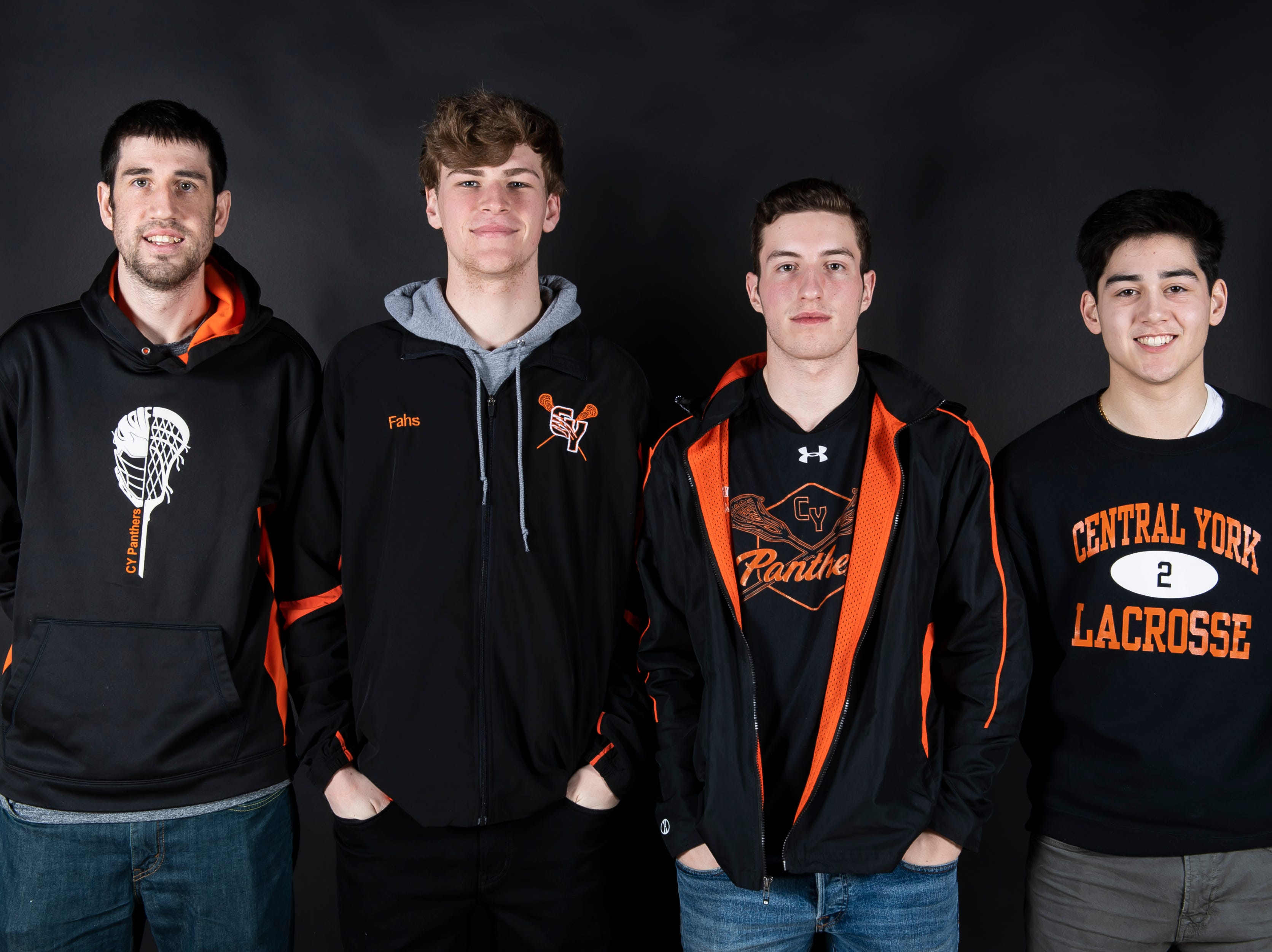 (From left) Central York lacrosse's coach Ryan Muller, Ryan Fans, Aaron Czech and Drake Little pose in the GameTimePA photo booth during spring sports media day in York Sunday, March 10, 2019.