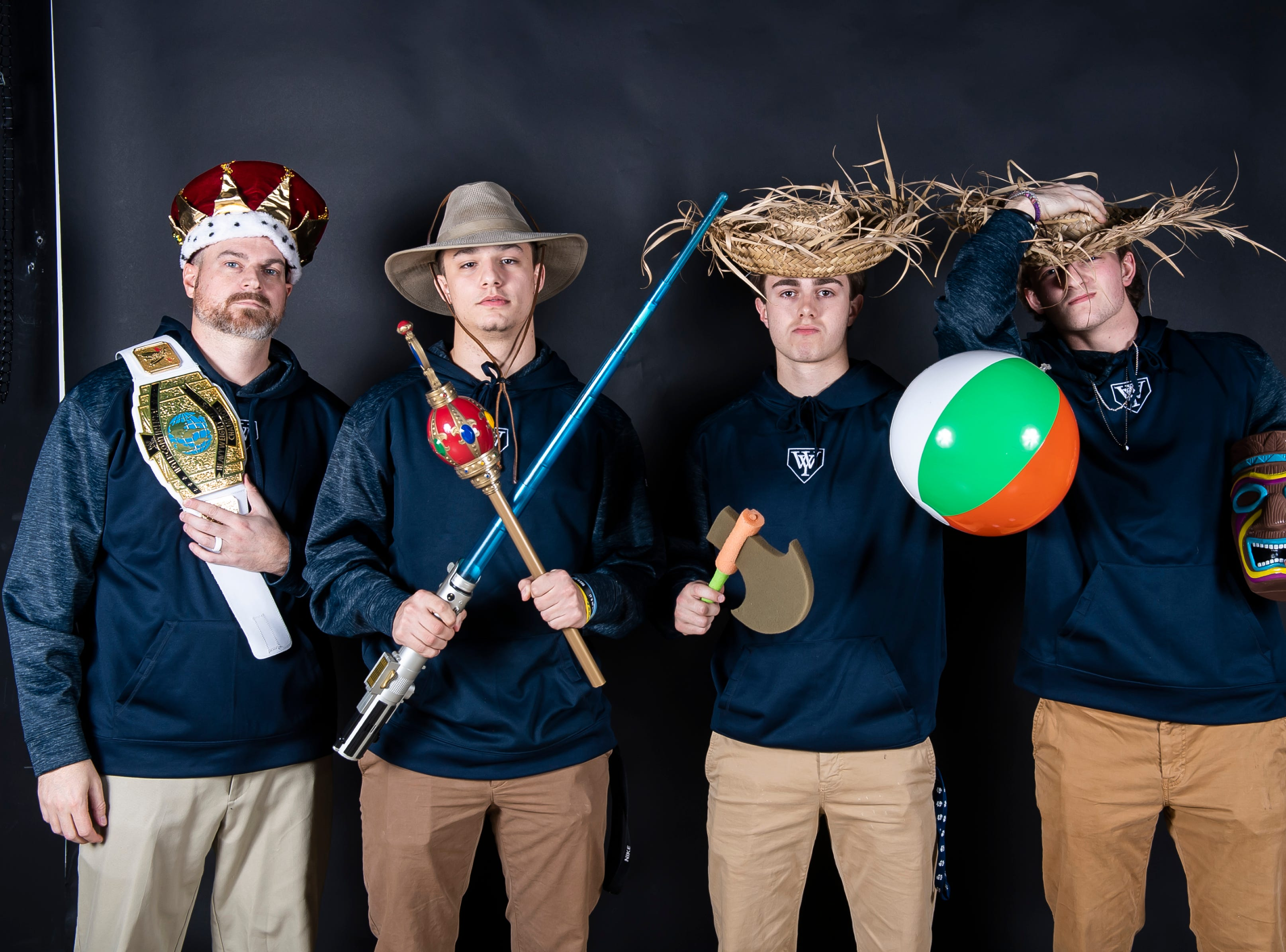 The West York baseball team strike a pose in the GameTimePA photo booth during spring sports media day in York Sunday, March 10, 2019.