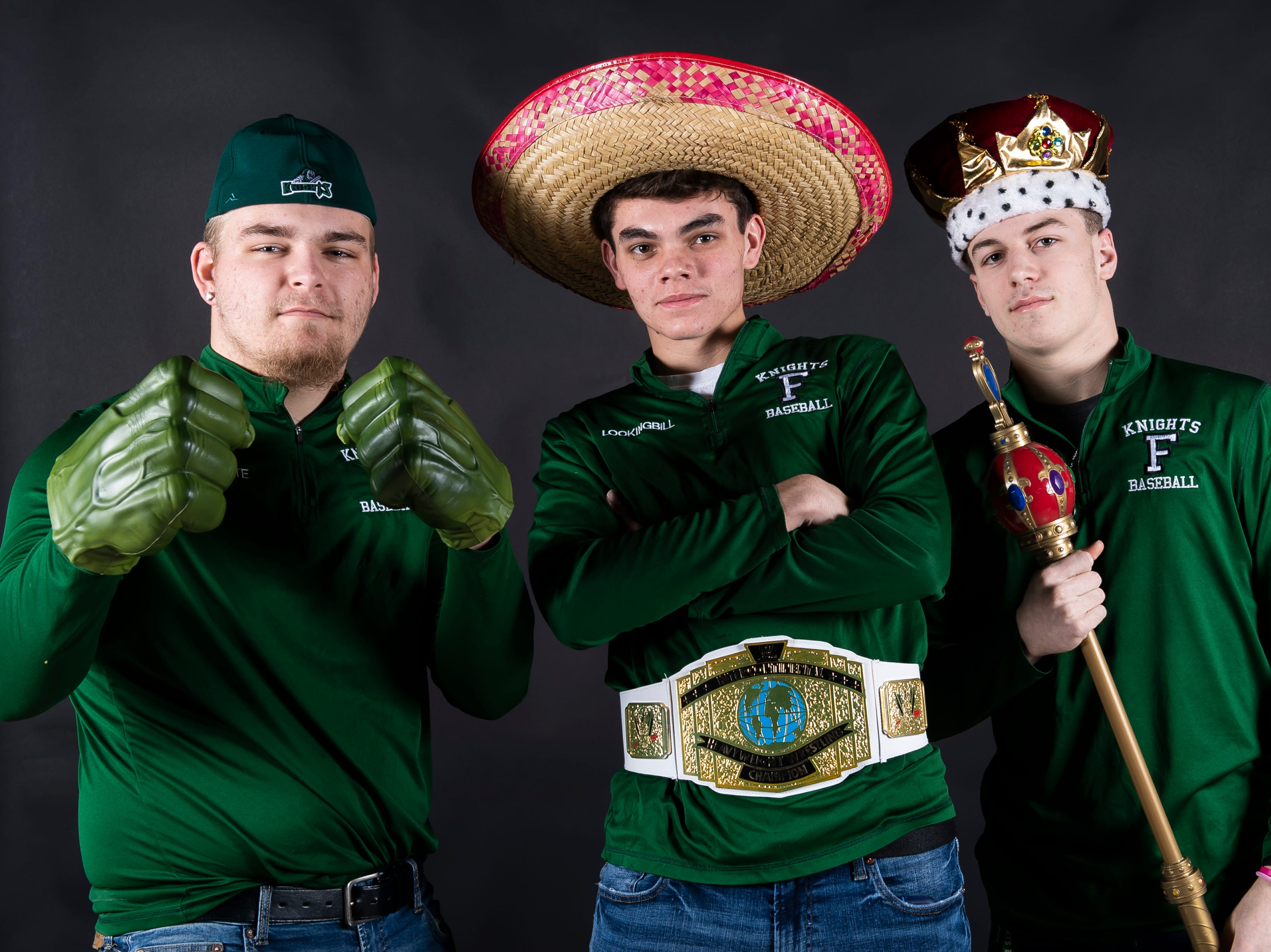 (From left) Fairfield baseball's Ethan Favorite, Chase Lookingbill and Zach Koons strike a pose in the GameTimePA photo booth during spring sports media day in York Sunday, March 10, 2019.