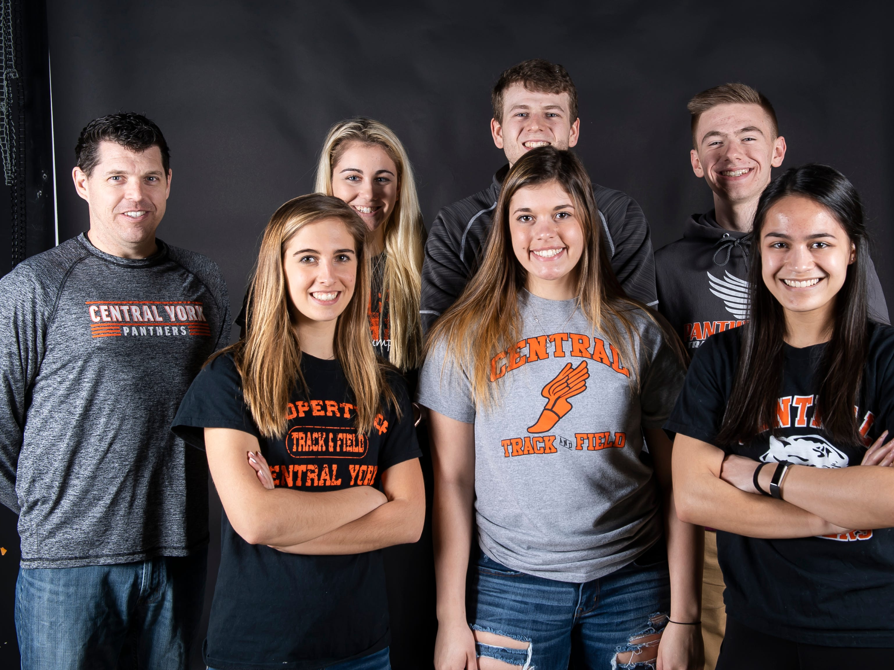 (From back left) Central York track and field coach Christopher Detwiller, Sierra Crane, Bryce Bender, Connor Perone, Kendall Smith, Micahela Smith and Madison Scapano pose in the GameTimePA photo booth during spring sports media day in York Sunday, March 10, 2019.