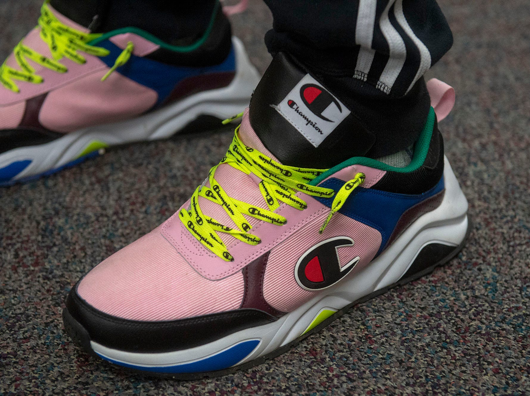 West York junior thrower Jacob Snyder had the most colorful sneakers at GameTimePA's YAIAA Spring Media Day on Sunday, March 10, 2019.