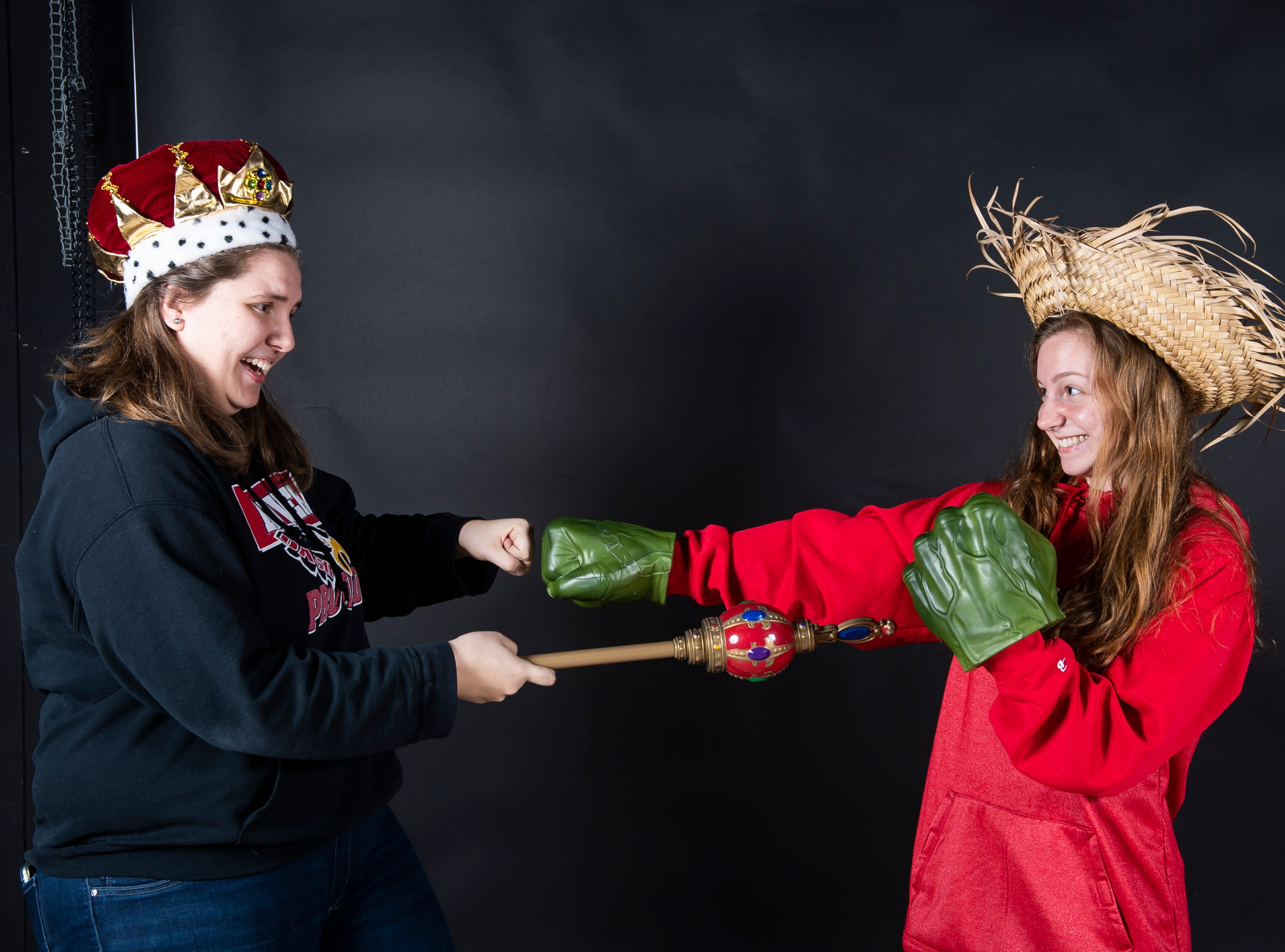 (From left) Dover lacrosse players Katie Sweitzer and Paige Lantz strike a pose in the GameTimePA photo booth during spring sports media day in York Sunday, March 10, 2019.