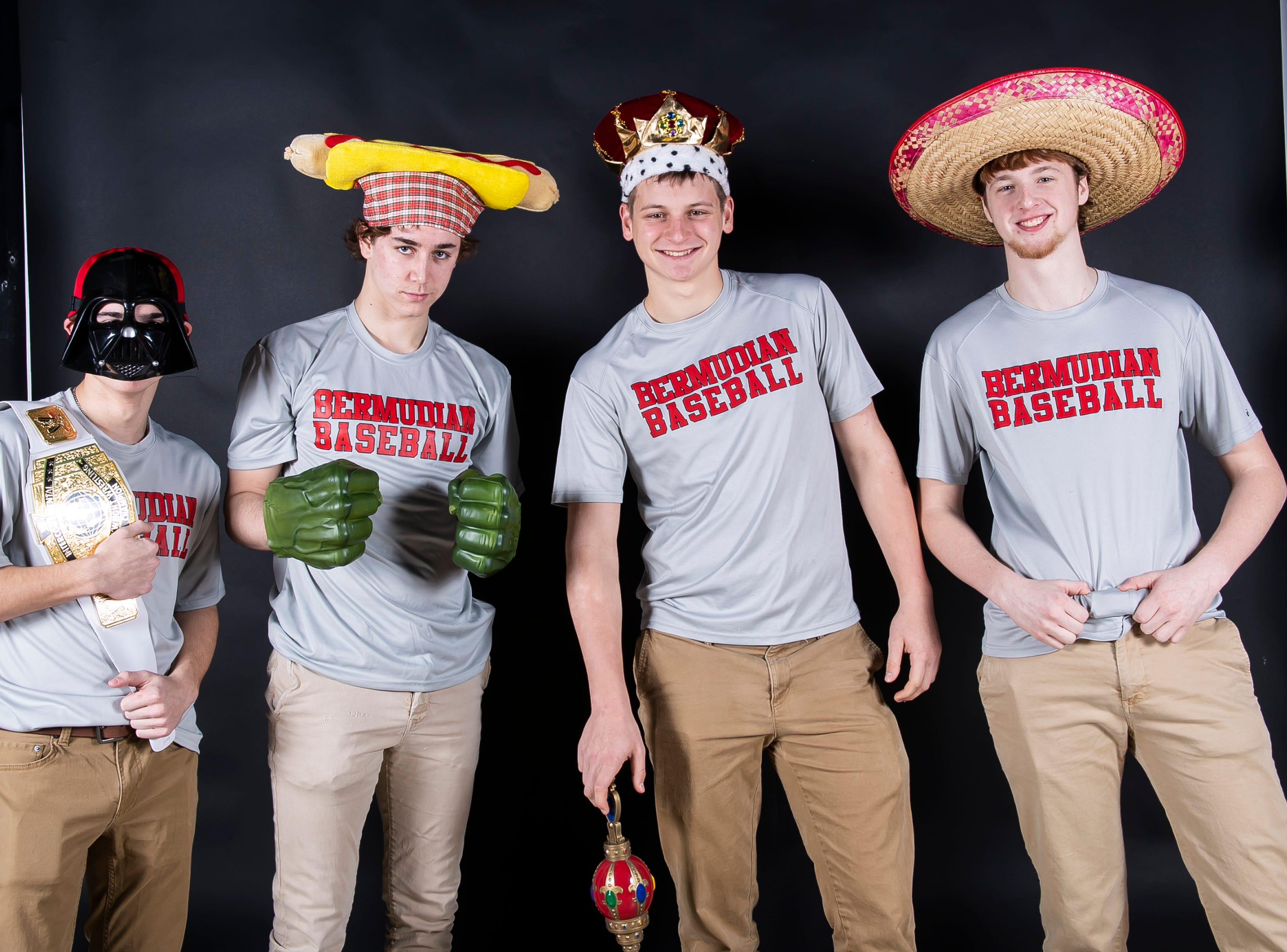 (From left) Bermudian Springs baseball players Aden Juelich, Tyler Sims, Tyler Reinert and Shane Starner strike a pose in the GameTimePA photo booth during spring sports media day in York Sunday, March 10, 2019.