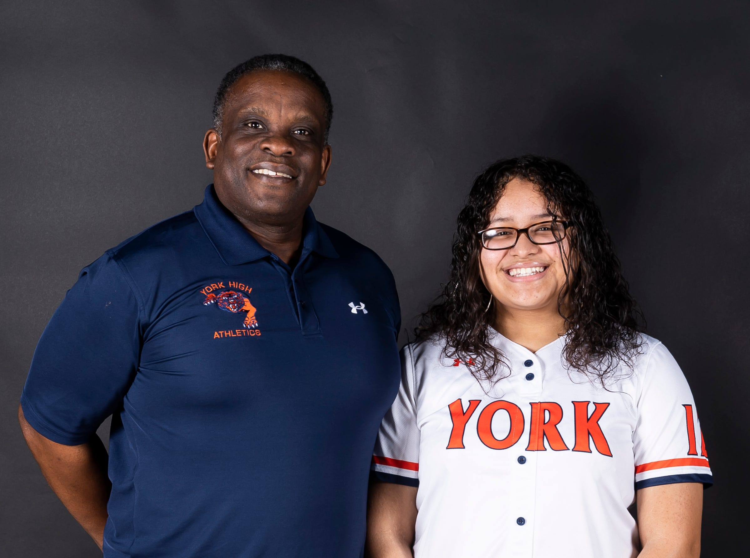 York High softball Eric Cox and player Jesska Moreno pose in the GameTimePA photo booth during spring sports media day in York Sunday, March 10, 2019.