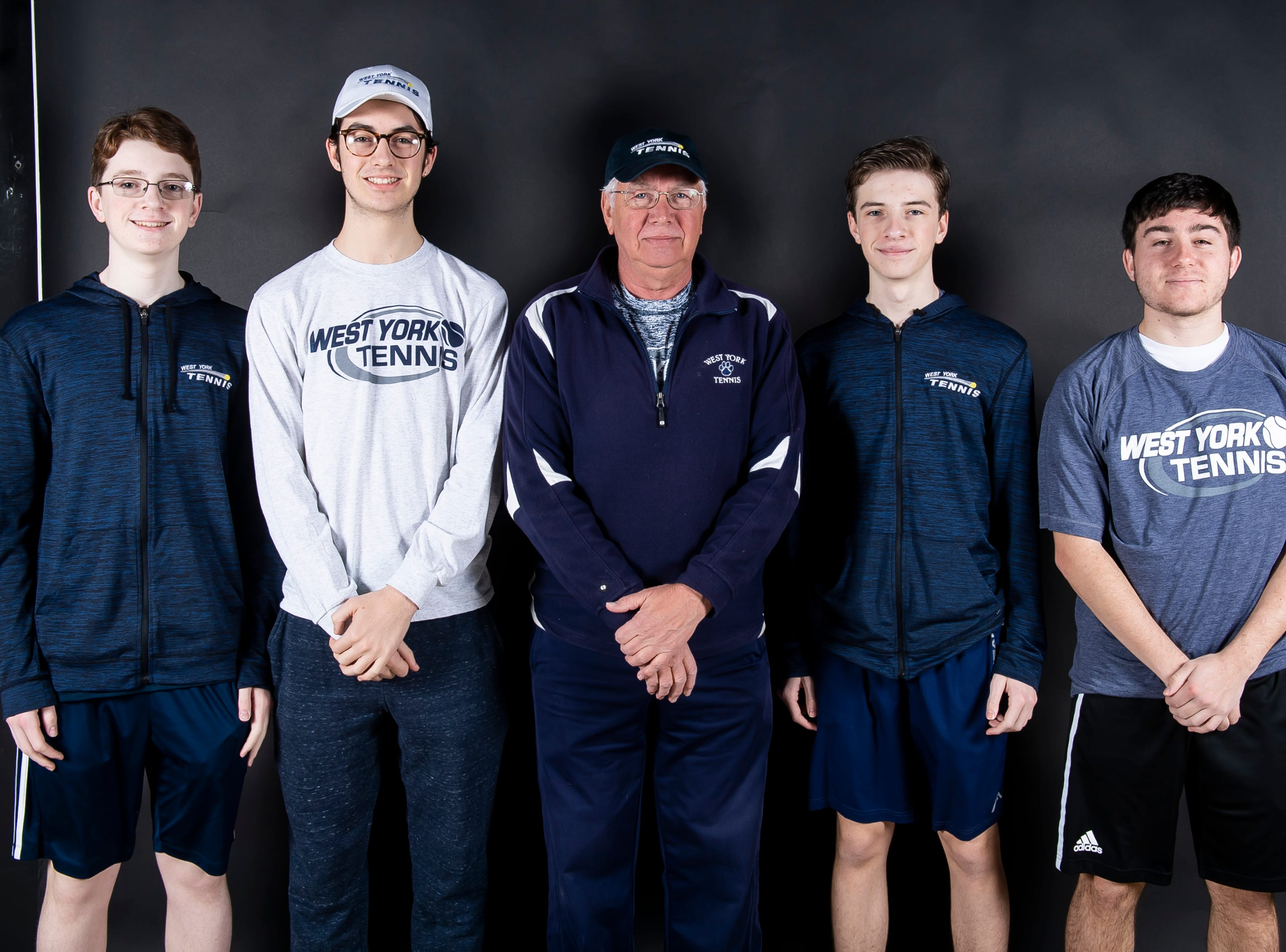 (From left) West York tennis team's Jack Citrone, Brendan Guy, coach Pete Kerns, Augie Citrone and Griffin Conaway pose in the GameTimePA photo booth during spring sports media day in York Sunday, March 10, 2019.