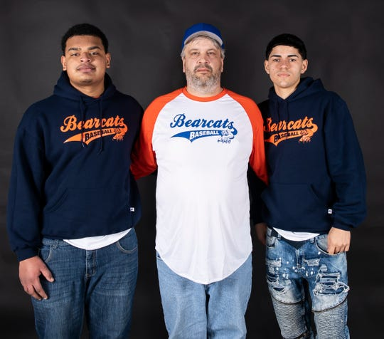 (From left) York High baseball's Joseph Garabito, coach Dave Carr and Bryan Seda pose in the GameTimePA photo booth during spring sports media day in York Sunday, March 10, 2019.