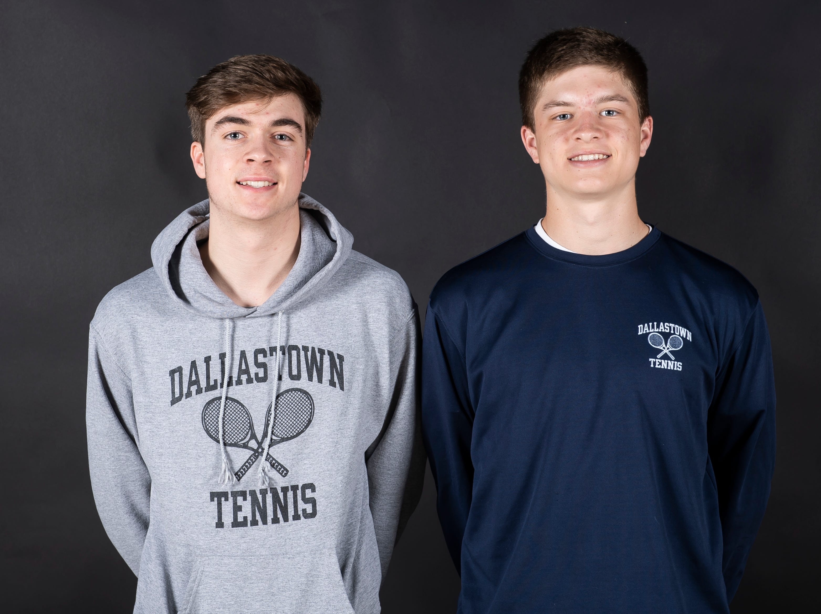 (From left) Dallastown tennis players Sebastian May and Holden Koons pose in the GameTimePA photo booth during spring sports media day in York Sunday, March 10, 2019.
