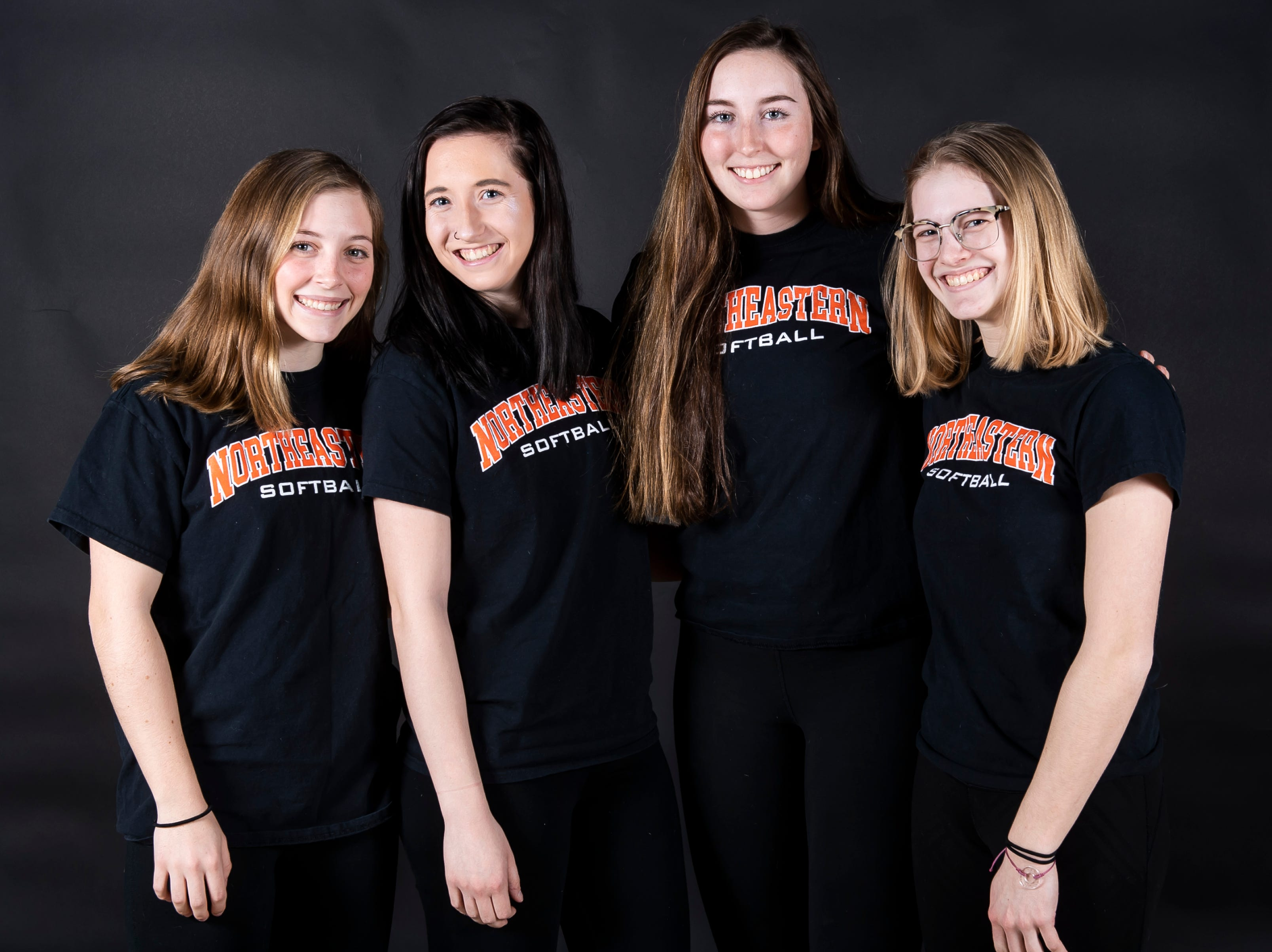 (From left) Northeastern softball players Peyton Eckenrode, Belle Bortner, Haley Updegraff and Madison Wrightstone pose in the GameTimePA photo booth during spring sports media day in York Sunday, March 10, 2019.