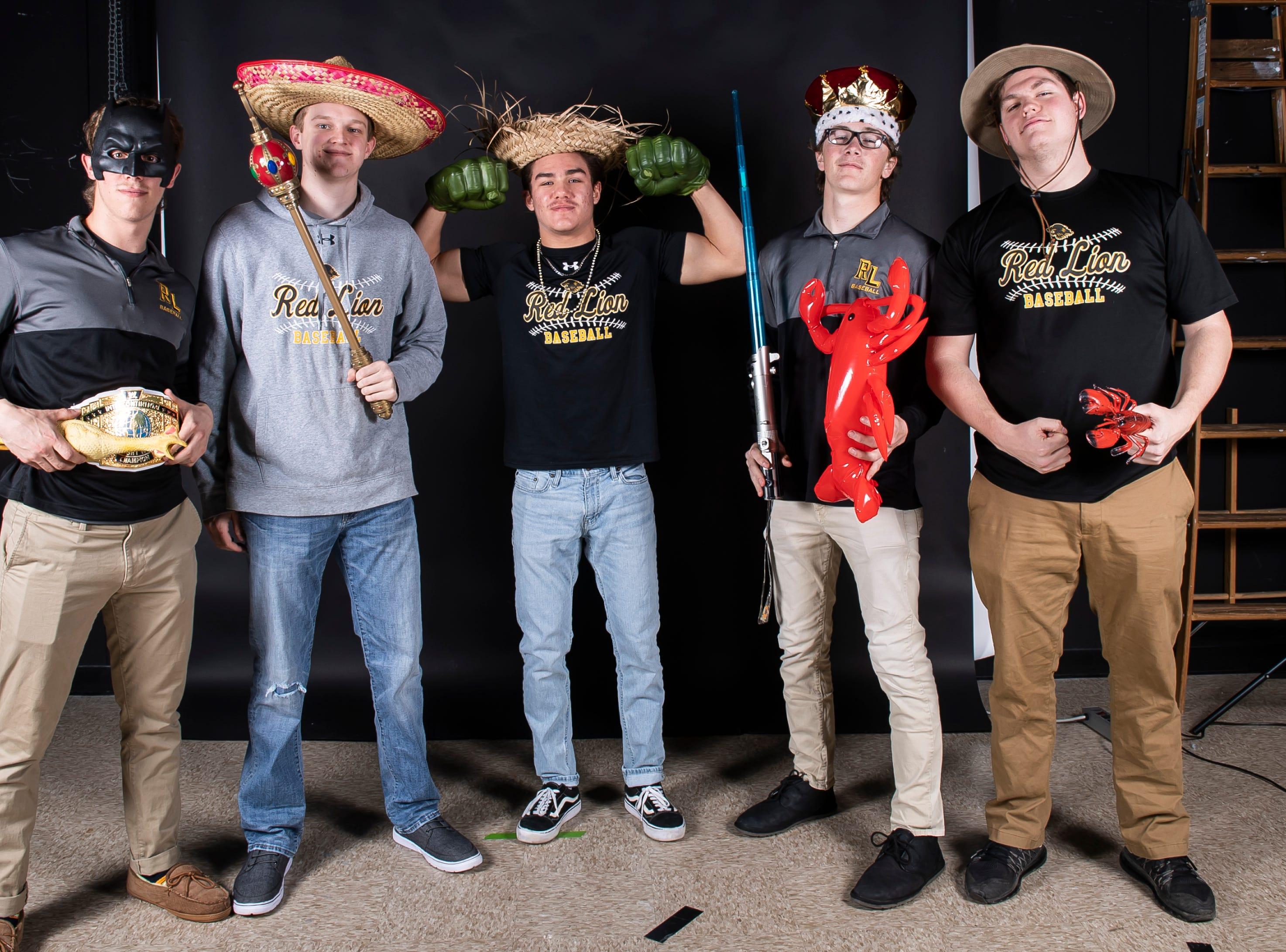 (From left) Red Lion baseball players strike a pose in the GameTimePA photo booth during spring sports media day in York Sunday, March 10, 2019.