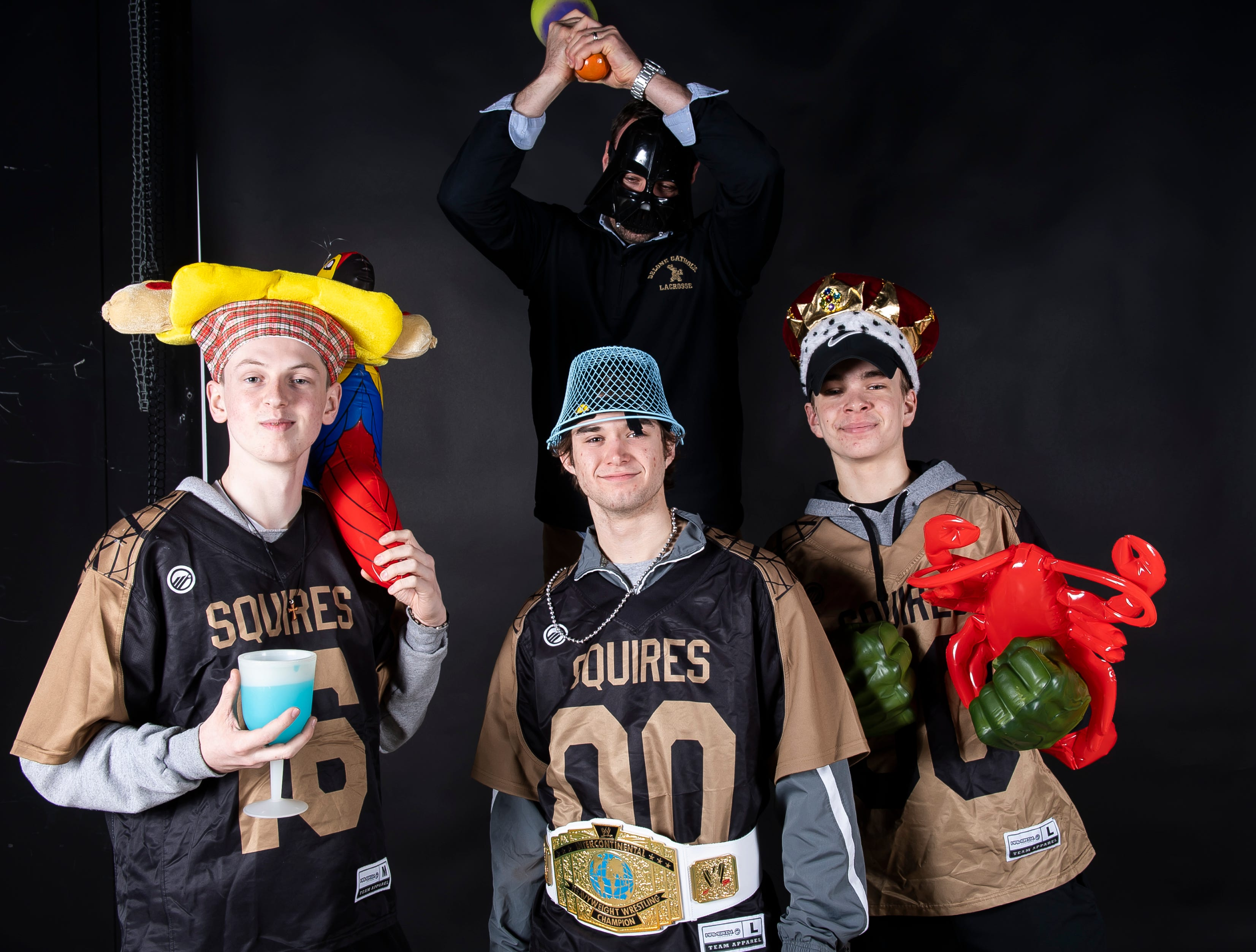The Delone Catholic lacrosse team strike a pose in the GameTimePA photo booth during spring sports media day in York Sunday, March 10, 2019.