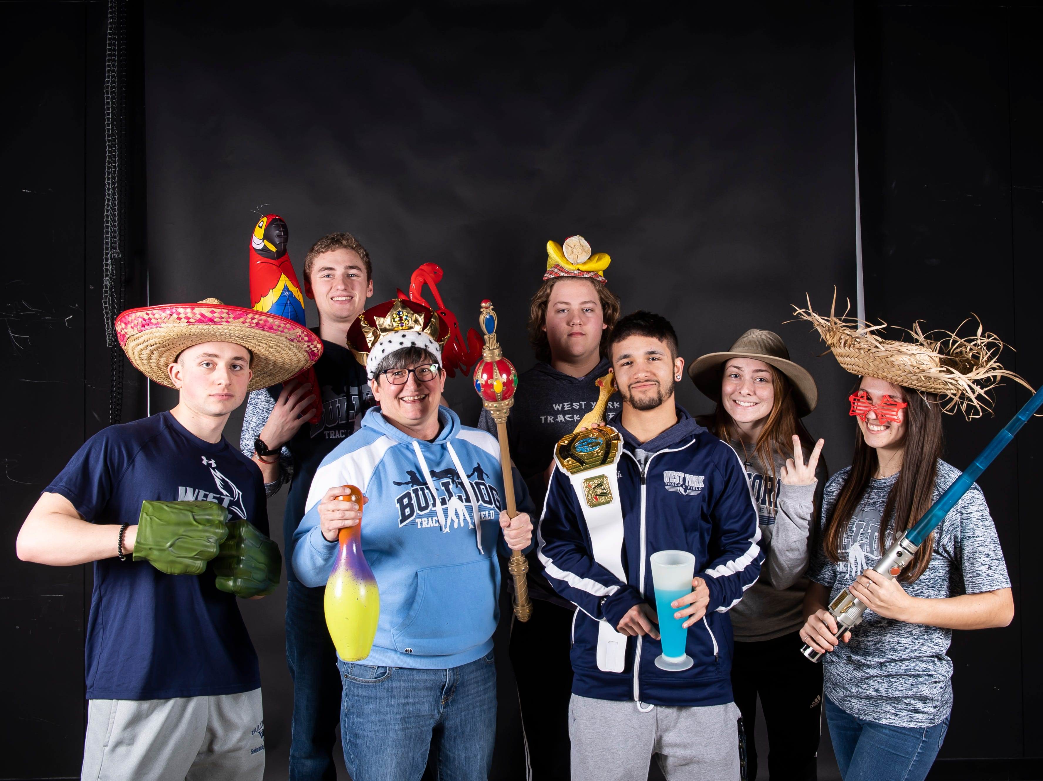 The West York track and field team strike a pose in the GameTimePA photo booth during spring sports media day in York Sunday, March 10, 2019.