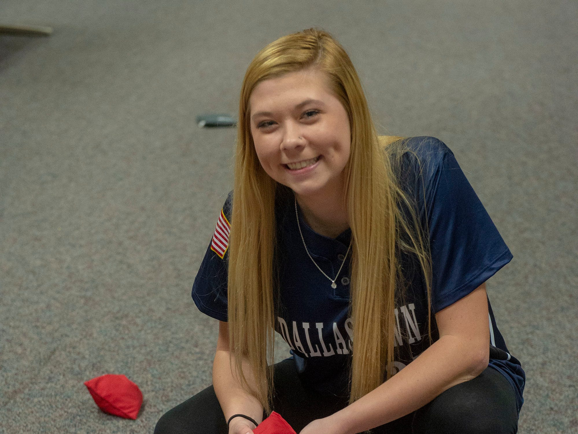 Dallastown softball pitcher Kelsie Merriman was the champ of long-distance cornhole Sunday, March 10, 2019 at GameTimePA's Spring Media Day. She was one of three players to send the beanbag home, but the only person to do it twice. Spring Grove's Bailey Rampson and Bermudian Springs' Tyler Reinert also scored winners.
