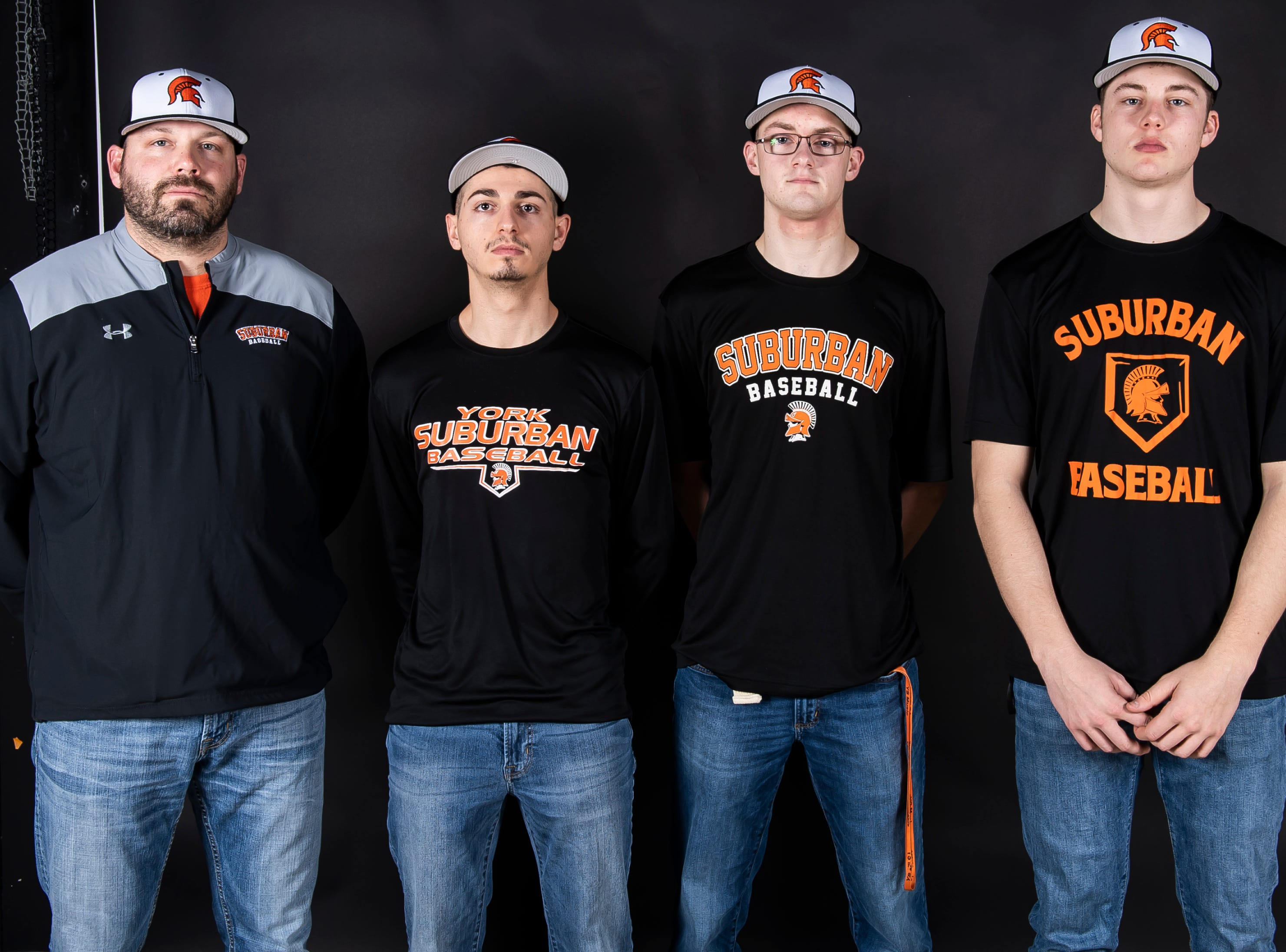 (From left) York Suburban baseball's coach Casey Market, Adam Petersen, Ryan Myers and Max Reinecker pose in the GameTimePA photo booth during spring sports media day in York Sunday, March 10, 2019.