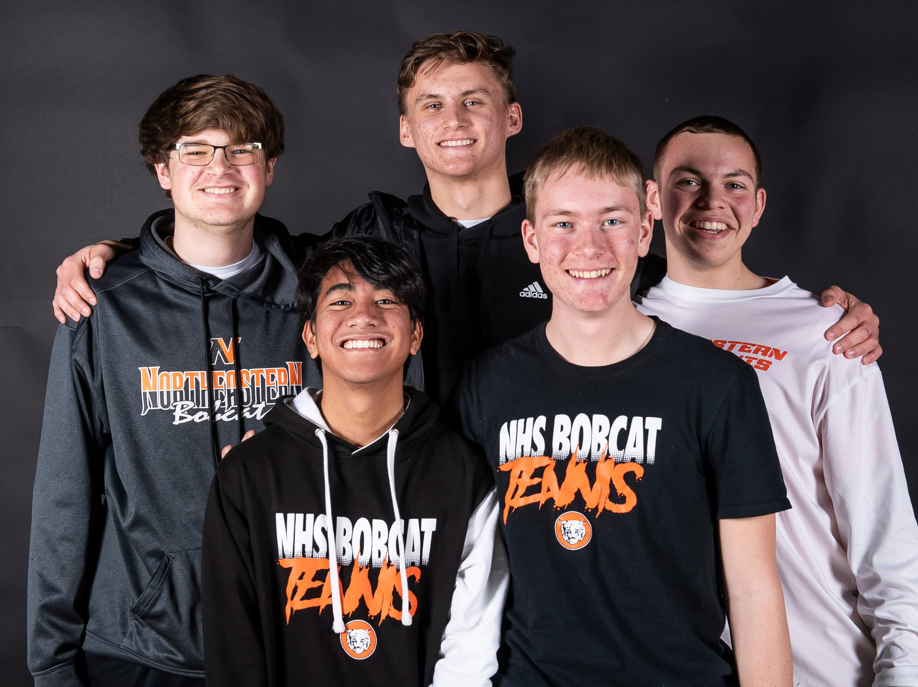 (From back left) Northeastern tennis players Matt Murray, Josh Sanderson, Erick Sowers, Sam Seidle and Lance Fries pose in the GameTimePA photo booth during spring sports media day in York Sunday, March 10, 2019.