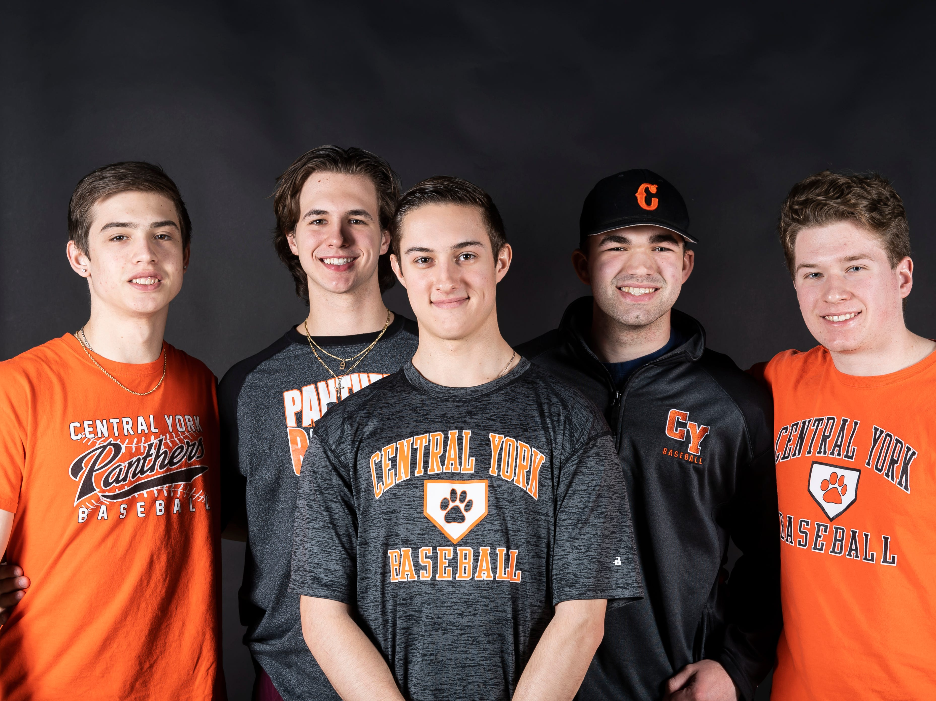 (From left) Central York baseball players Ryan Pepler, Landon Ness, Michael Livingston, Nathan Marquard and Ben Peterson pose in the GameTimePA photo booth during spring sports media day in York Sunday, March 10, 2019.
