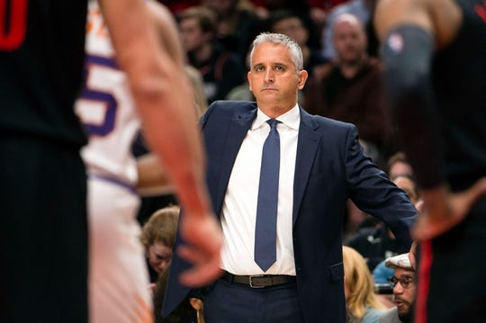 Mar 9, 2019; Portland, OR, USA; Phoenix Suns head coach Igor Kokoskov during the second half against the Portland Trail Blazers at Moda Center.