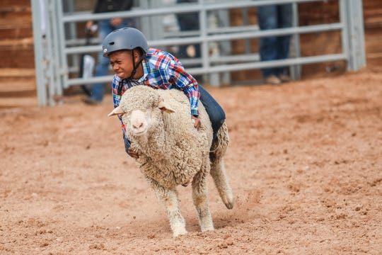 A junior competitor rides a sheep at the Arizona Black Rodeo in Chandler on March 9, 2019.