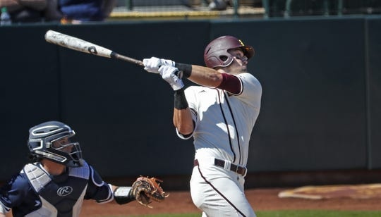 ASU's Hunter Bishop (4) hits a three run home run in the third inning during a game against Xavier at Phoenix Municipal Stadium in Phoenix, Ariz. on March 10, 2019.