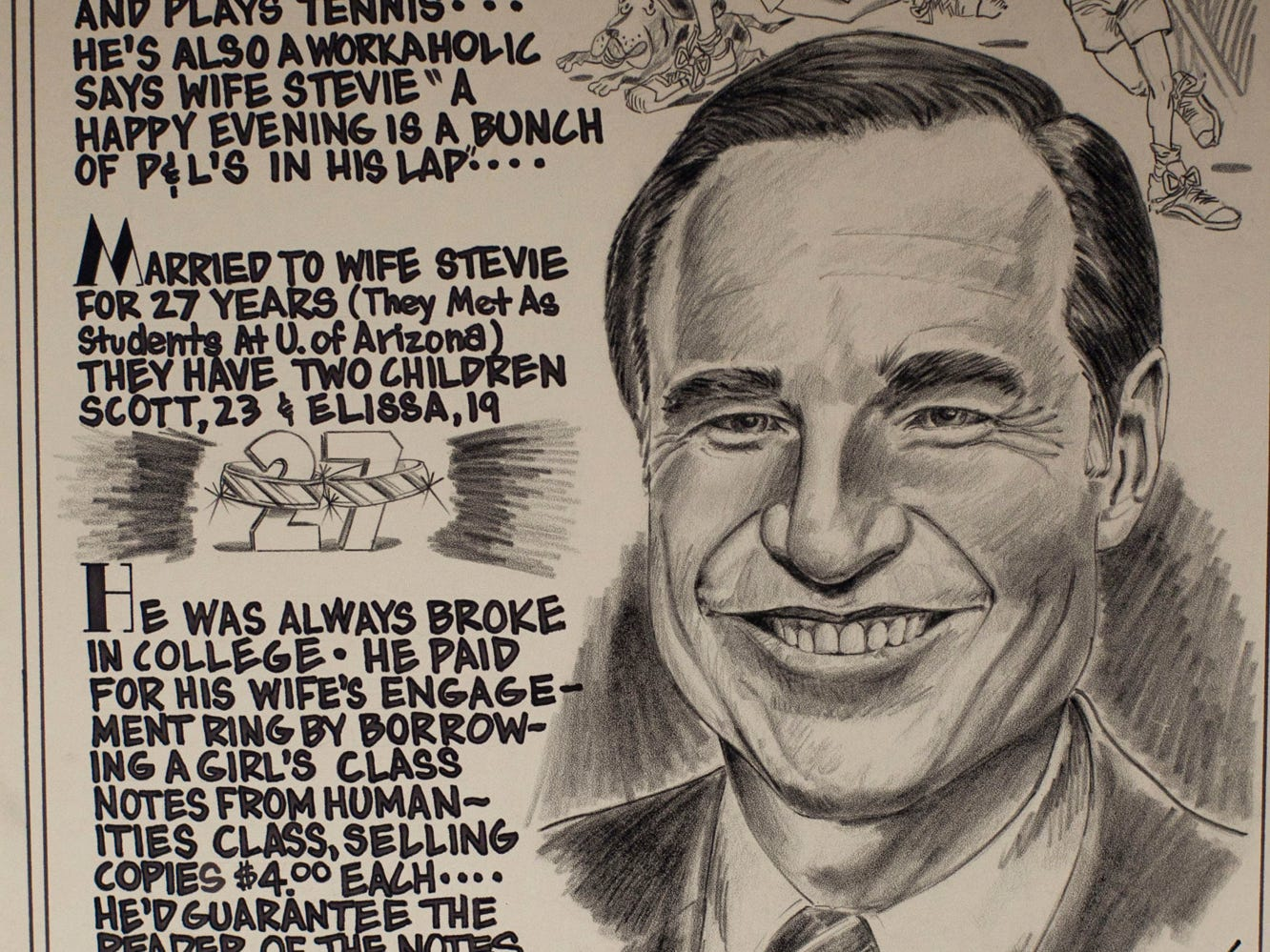 "A 1979 caricature by artist David Lawrenceo describes Karl Eller as ""The World's Biggest Optimist."""