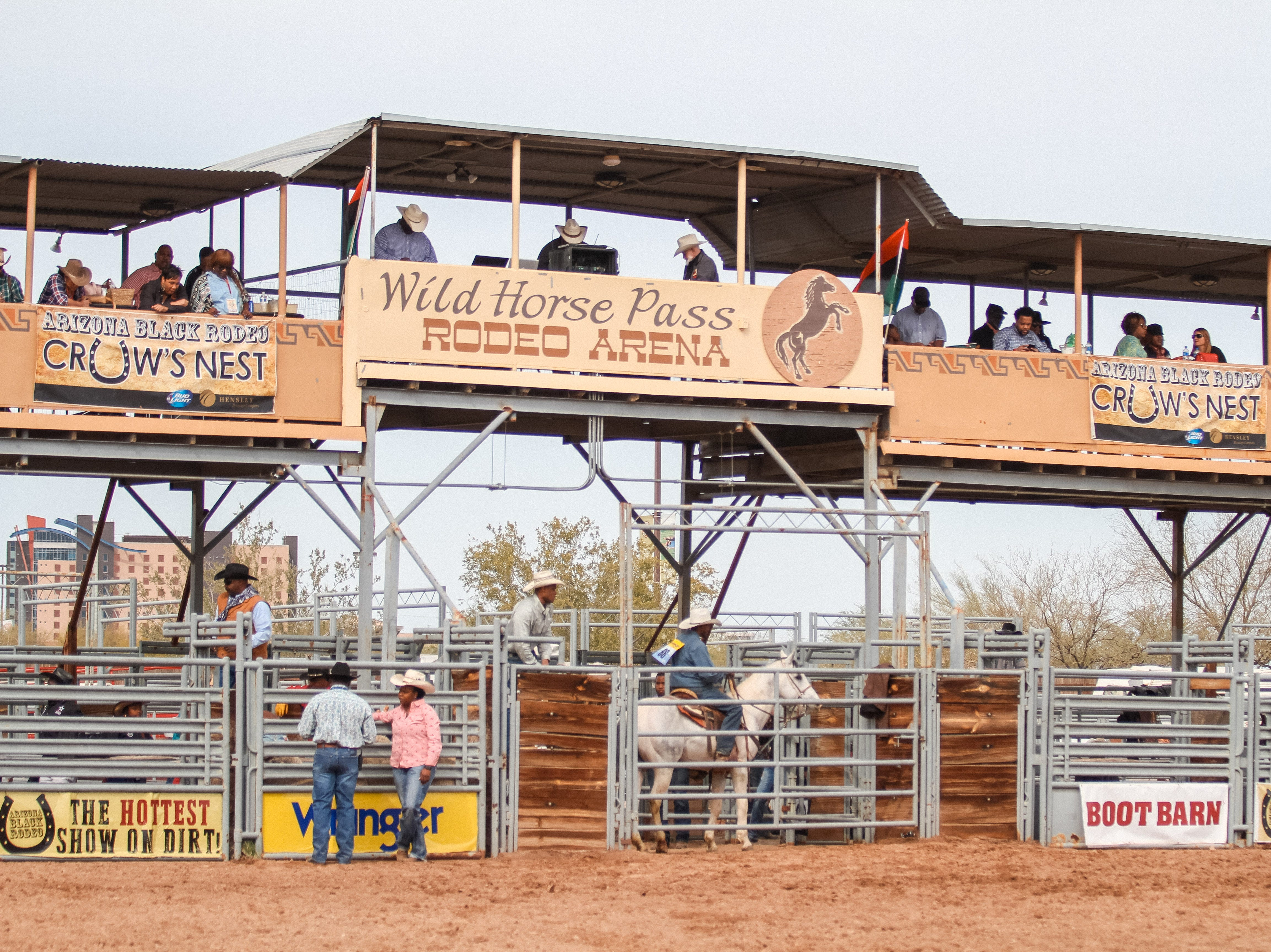 Riders compete at the Arizona Black Rodeo in Chandler, Arizona on Saturday, March 9, 2019.