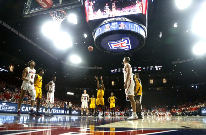 ASU's Remy Martin (1) shoots a free throw against Arizona during the second half at the McKale Memorial Center in Tucson, Ariz. on March 9, 2019.