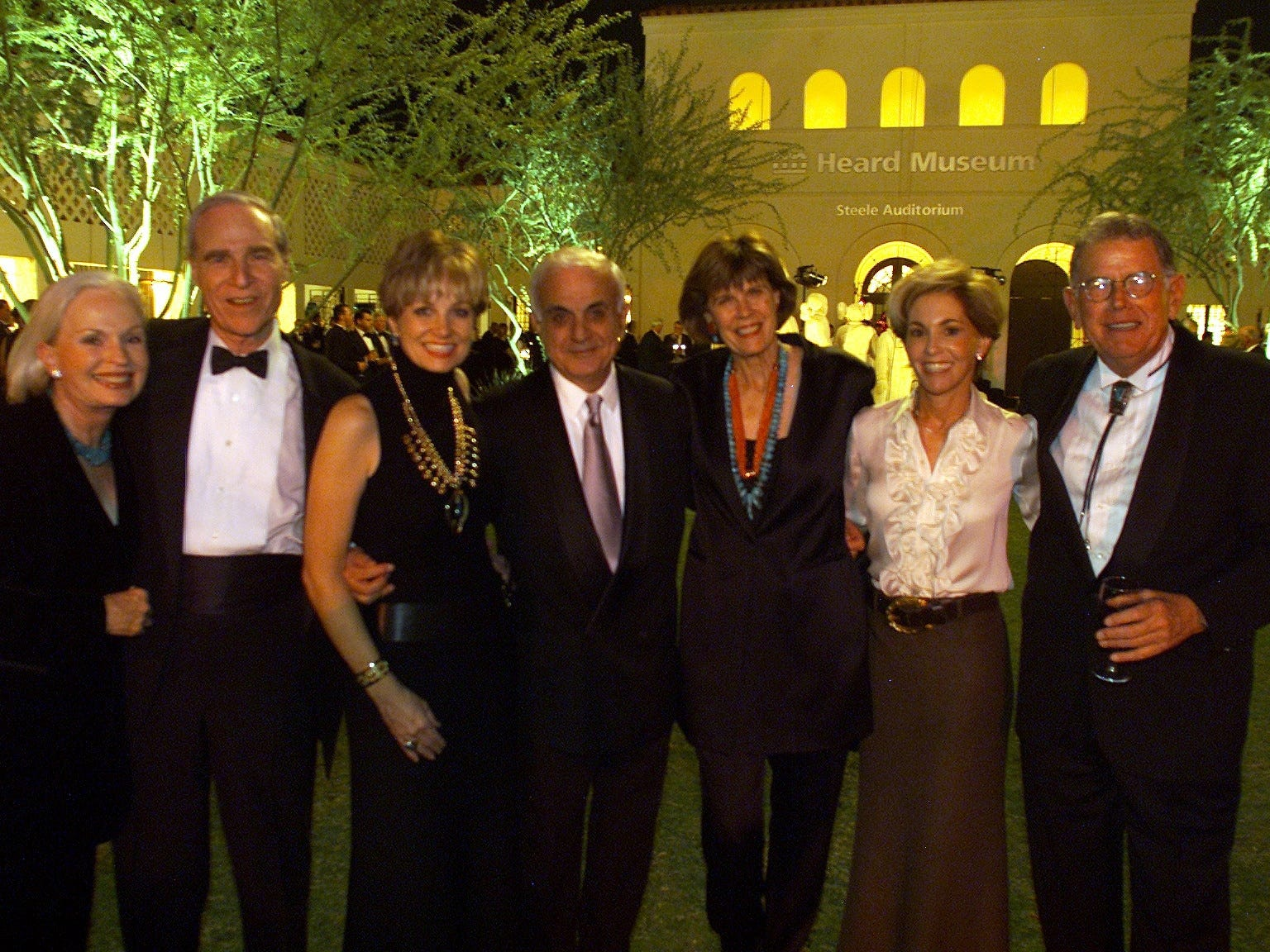 Janice Lyon, Karl Eller, Jamie Lendrum, Dan Cracchiolo, Pam Cracciolo, Harriet Friedland and Denny Lyon attending a fundraiser for the Heard Museum in Phoenix on Sept. 9, 2001.