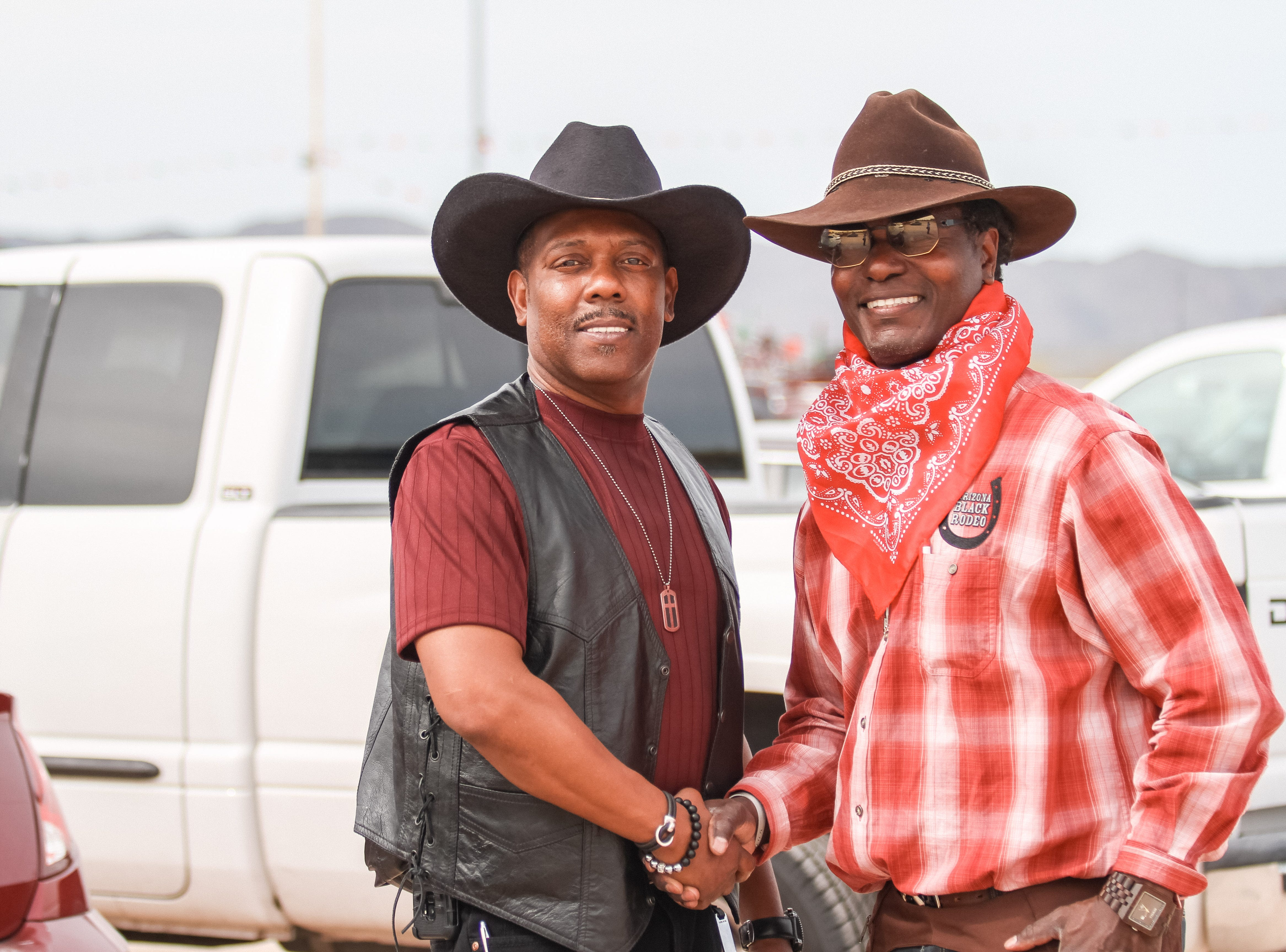 Dominic Booker and Mel Stevenson are pictured at the Arizona Black Rodeo in Chandler, Arizona on Saturday, March 9, 2019.
