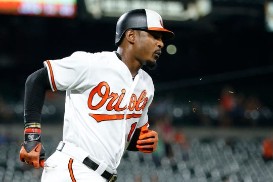 Aug 29, 2018: Baltimore Orioles center fielder Adam Jones (10) rounds the bases after hitting a grand slam in the fifth inning against the Toronto Blue Jays at Oriole Park at Camden Yards.