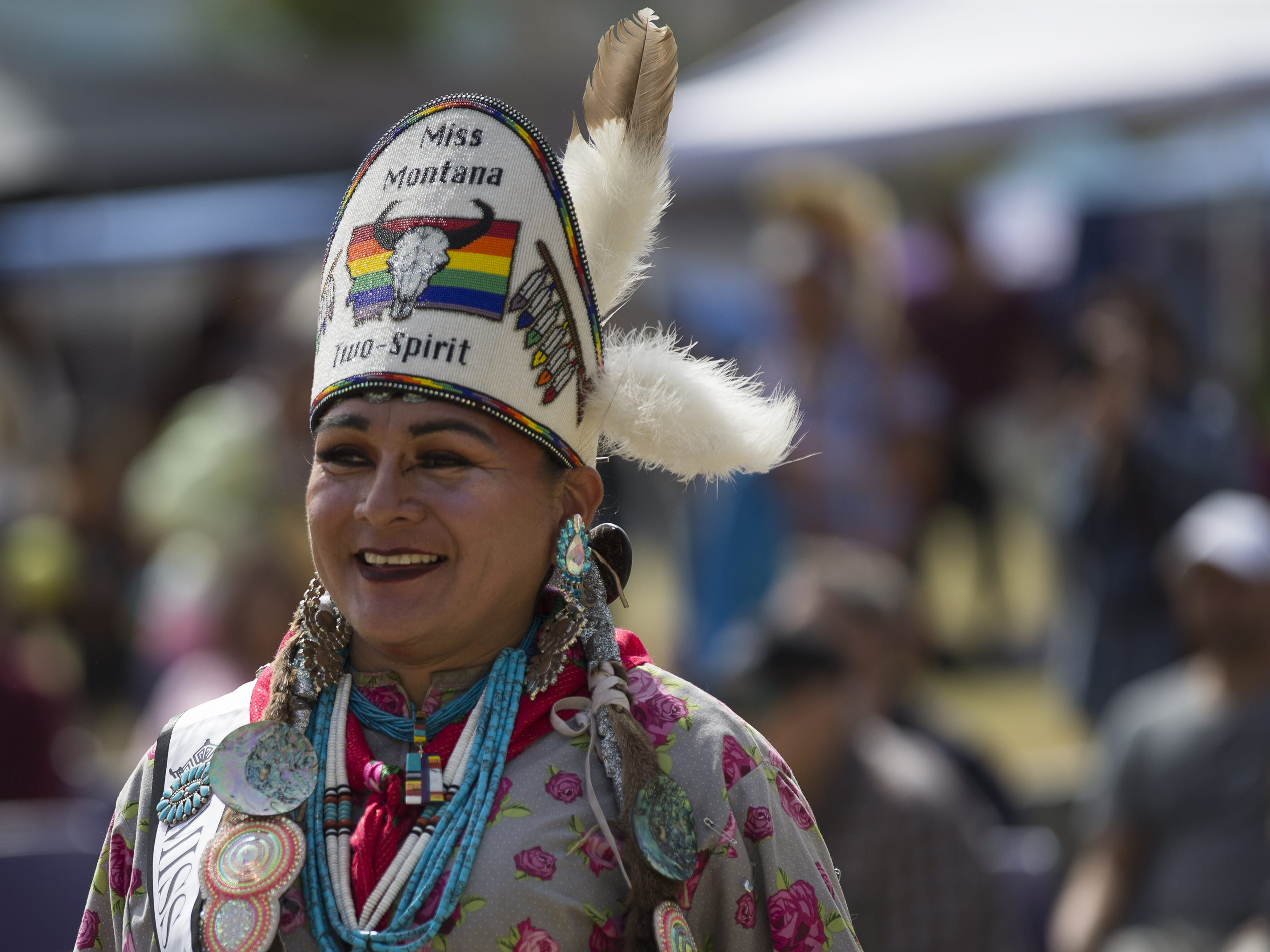 Buffalo Barbie, 2019's Miss Montana Two Spirit, dances at the Native Two Spirit Powwow at South Mountain Community College in Phoenix, Ariz. on Saturday, March 9, 2019. The powwow was the first of its kind in Arizona, featuring members who identified as two spirit, and members who did not, dancing together.