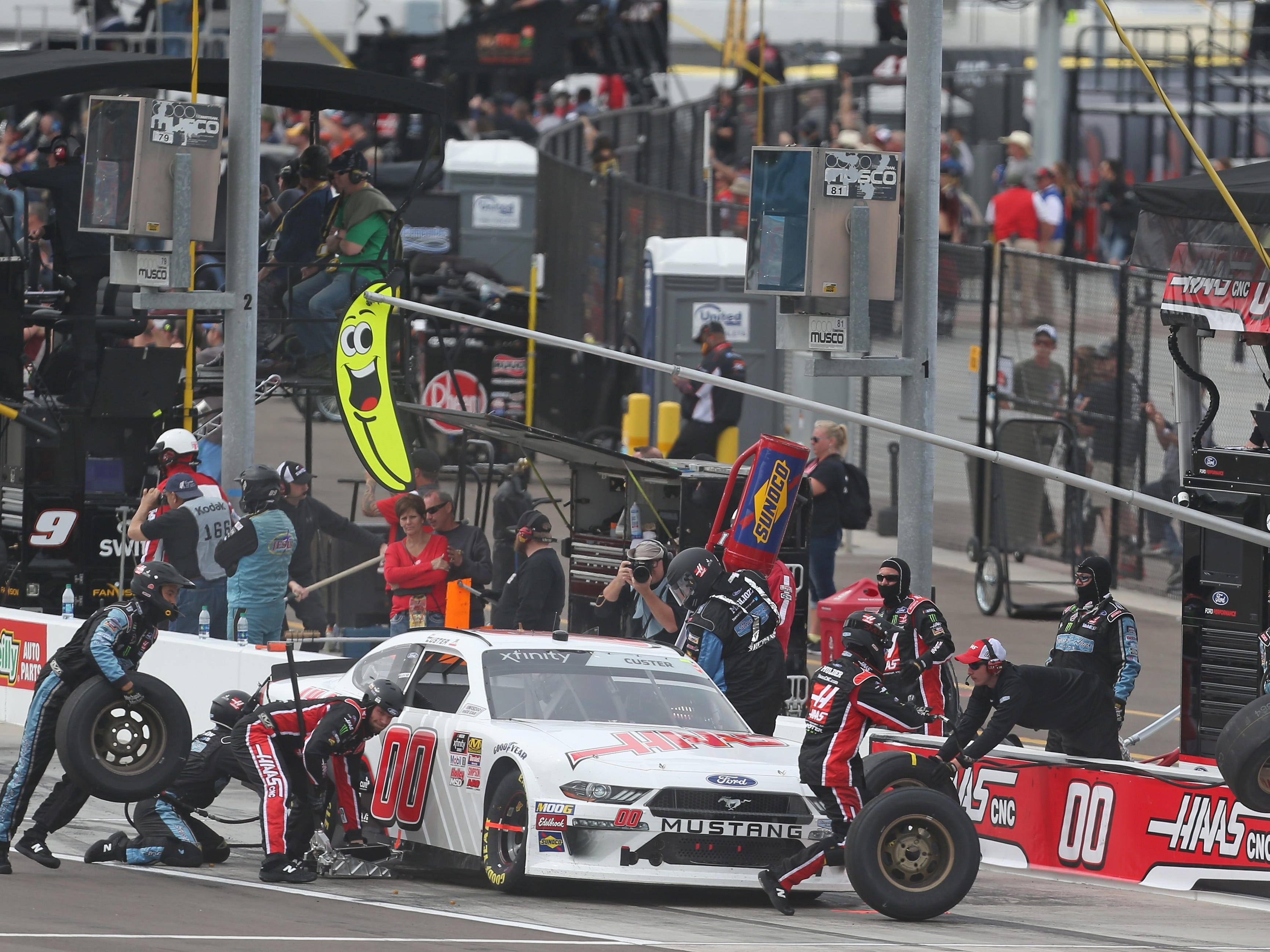 AVONDALE, AZ - MARCH 09:  Cole Custer, driver of the #00 Haas Automation Ford, pits during the NASCAR Xfinity Series iK9 Service Dog 200 at ISM Raceway on March 9, 2019 in Avondale, Arizona.