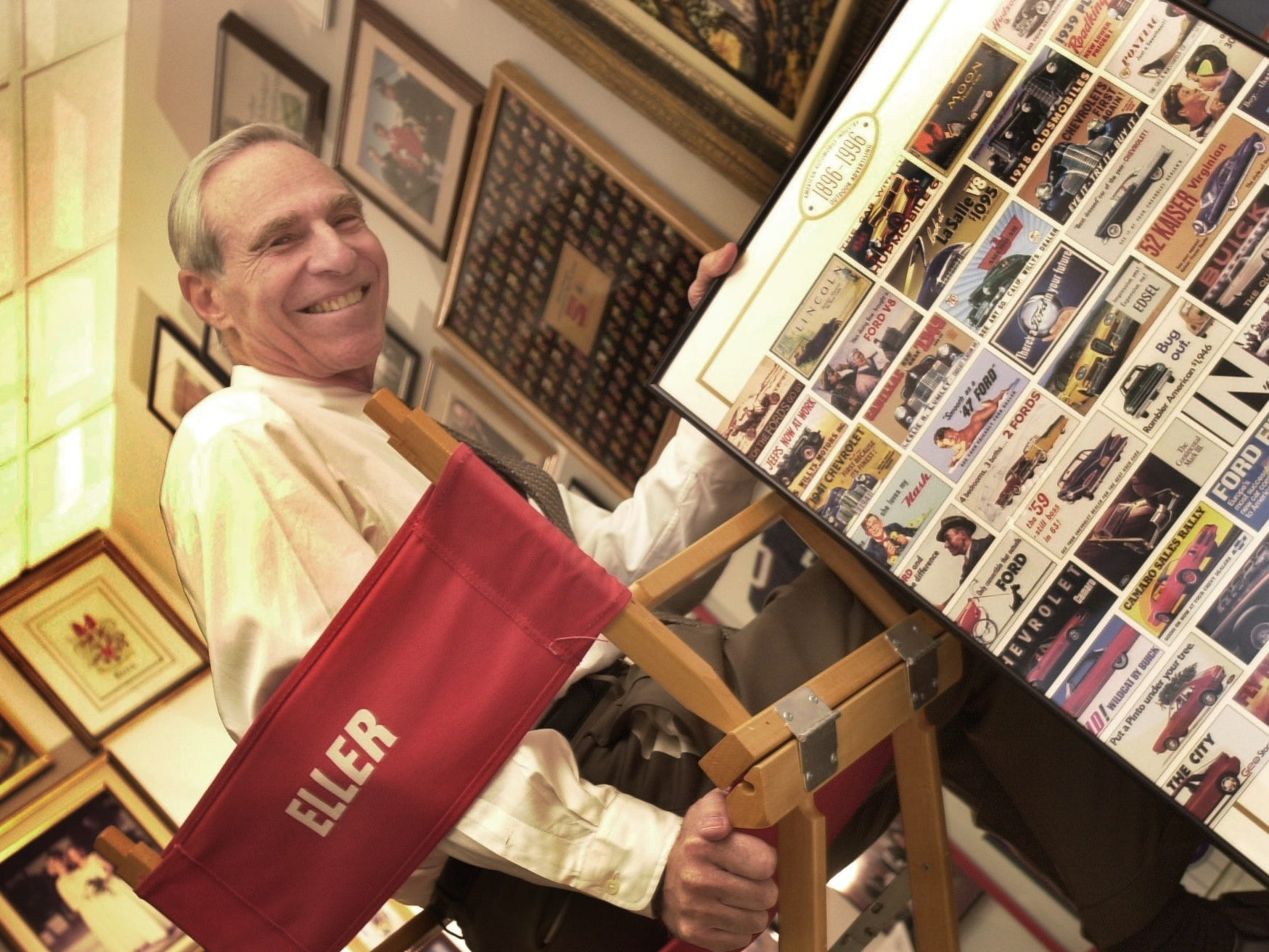 Karl Eller in his office with memorabilia of his long career and association with the University of Arizona in September 2000.