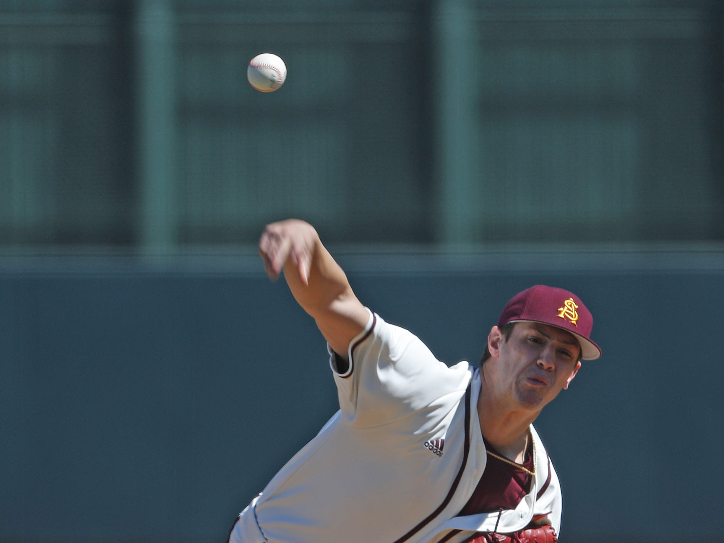 ASU's RJ Dabovich pitches during the first inning against Xavier at Phoenix Municipal Stadium in Phoenix, Ariz. on March 10, 2019.