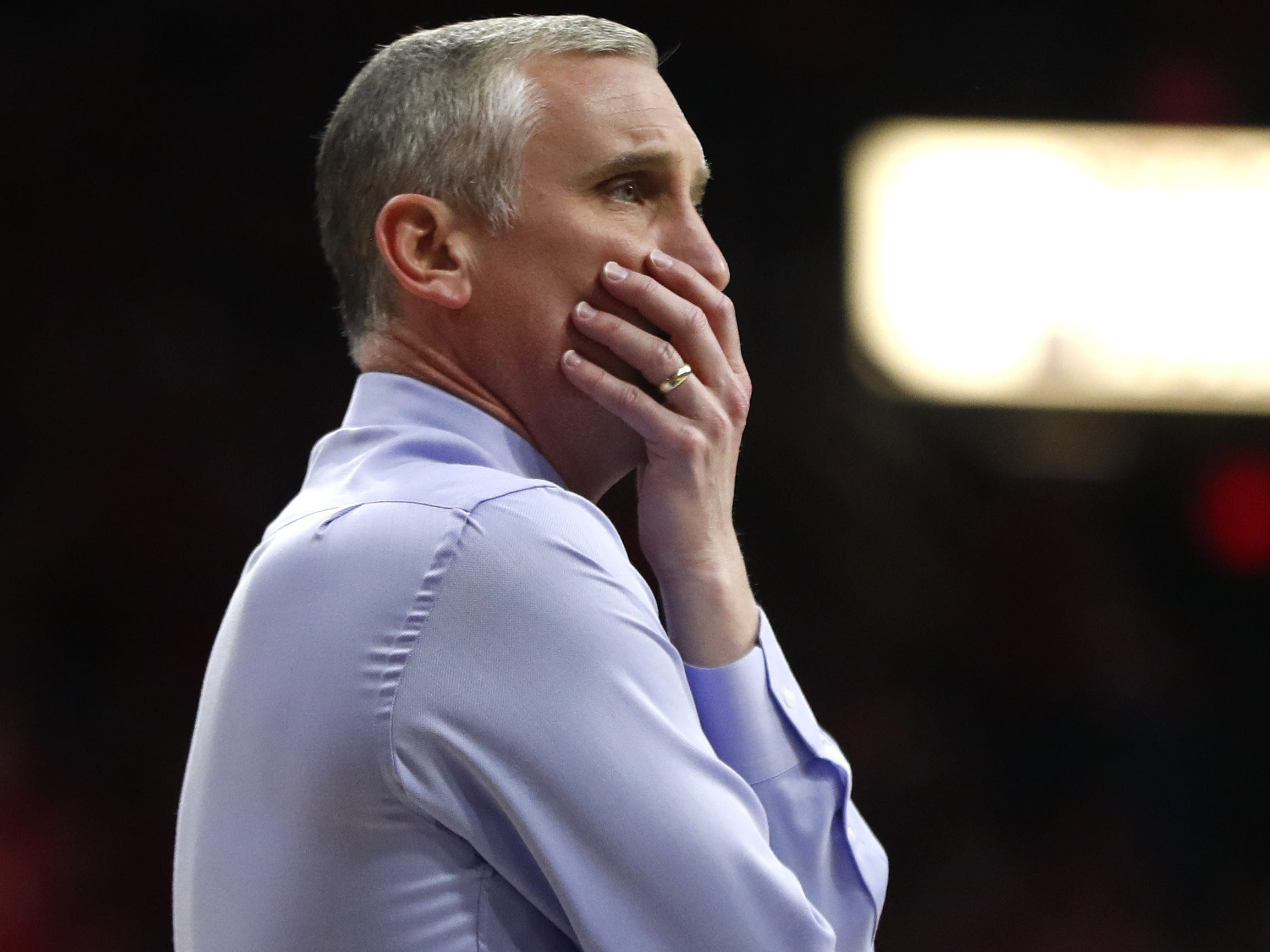 ASU's head coach Bobby Hurley yells to an official during the first half against Arizona at the McKale Memorial Center in Tucson, Ariz. on March 9, 2019.