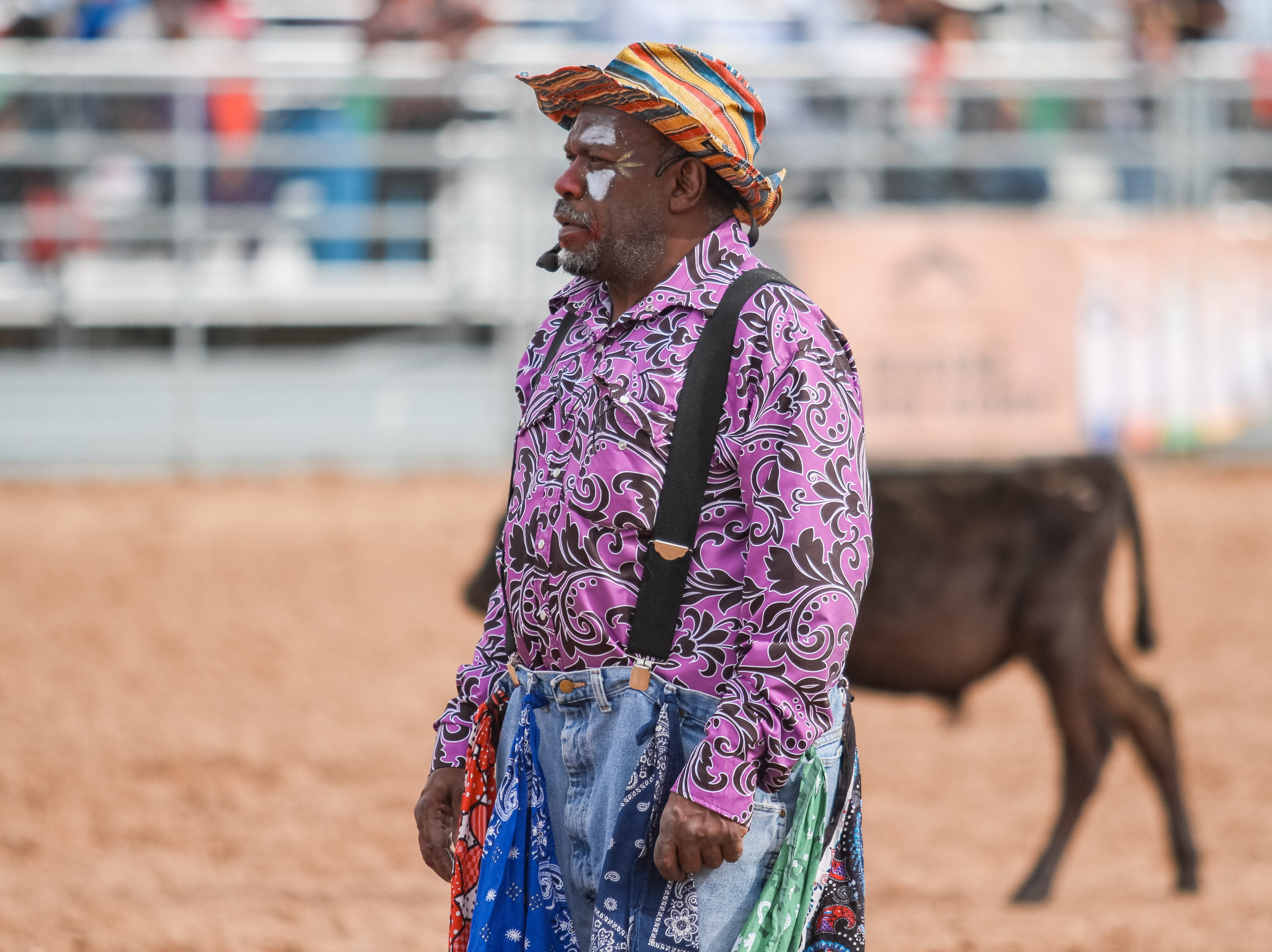Rodeo clown Avery Ford entertains the crowd at the Arizona Black Rodeo in Chandler, Arizona on Saturday, March 9, 2019.