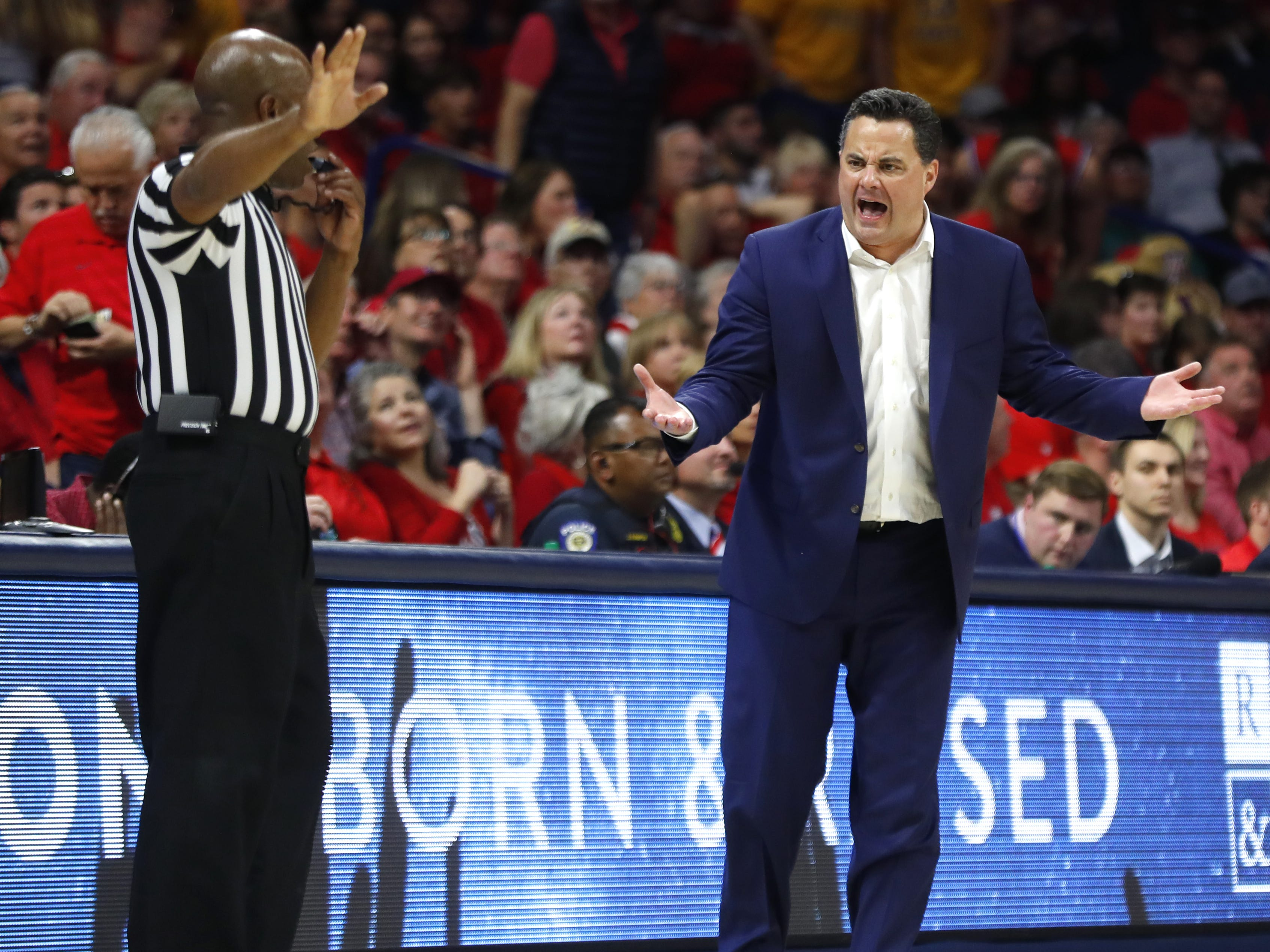 Arizona's head coach Sean Miller complains to an official during the first half against ASU at the McKale Memorial Center in Tucson, Ariz. on March 9, 2019.