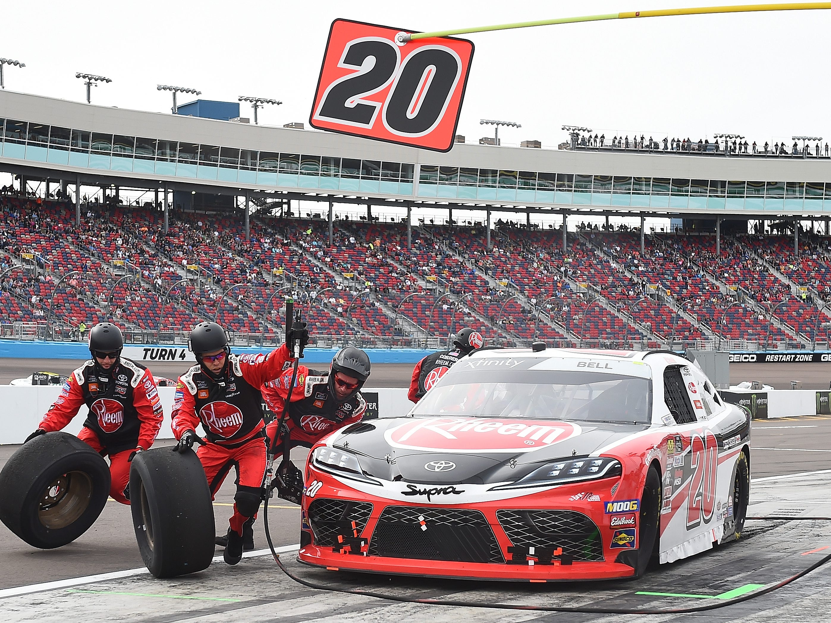 AVONDALE, AZ - MARCH 09:  Christopher Bell, driver of the #20 Rheem Toyota, pits during the NASCAR Xfinity Series iK9 Service Dog 200 at ISM Raceway on March 9, 2019 in Avondale, Arizona.