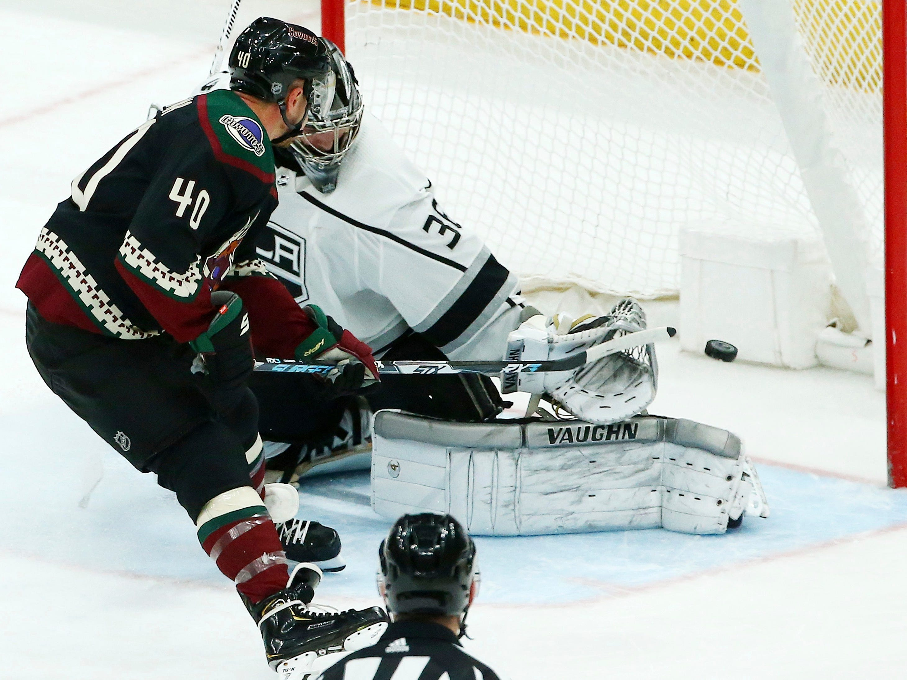 Arizona Coyotes right wing Michael Grabner (40) scores a goal against Los Angeles Kings goaltender Jack Campbell, right, during the third period of an NHL hockey game Saturday, March 9, 2019, in Glendale, Ariz. The Coyotes defeated the Kings 4-2.
