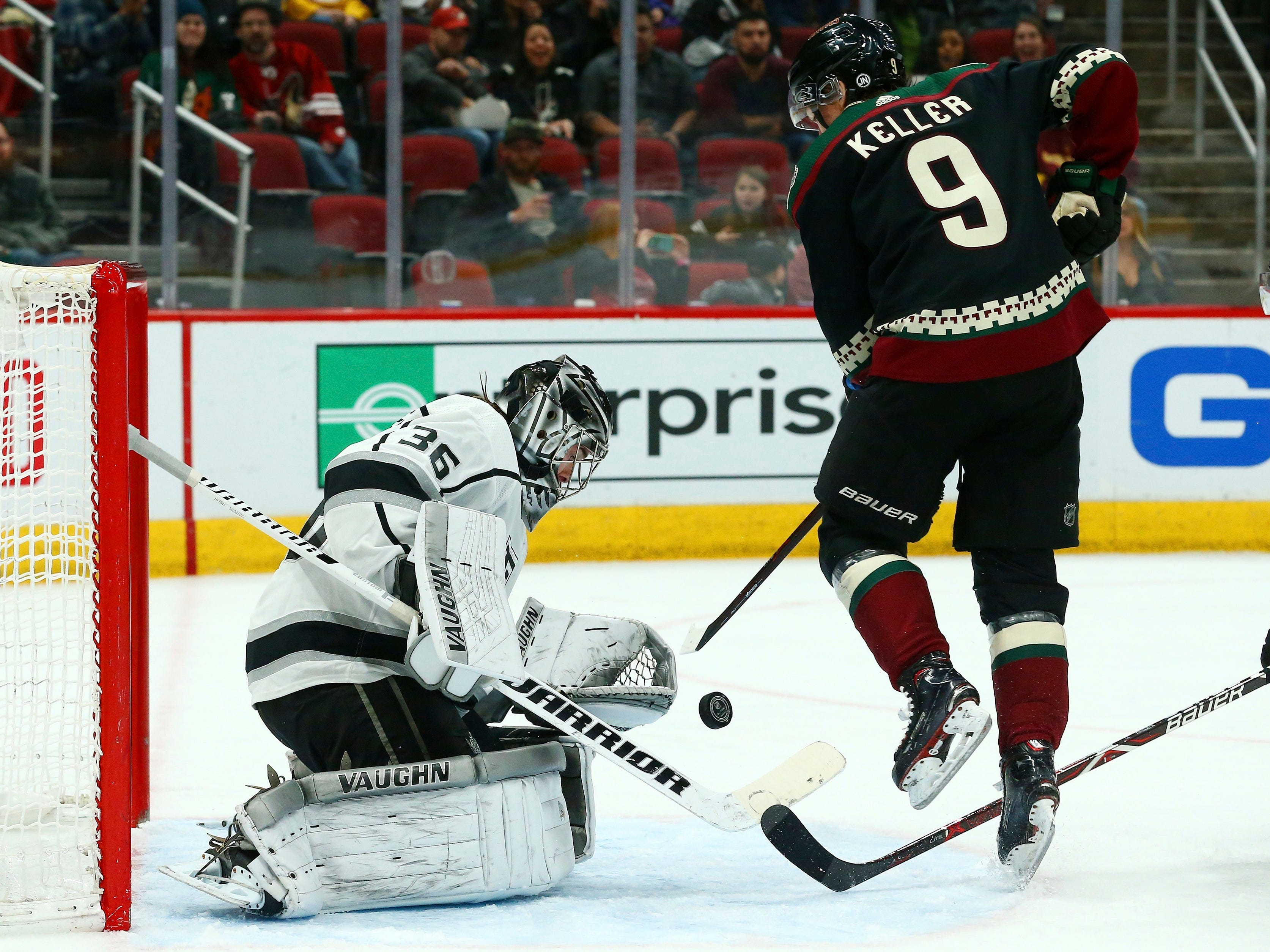 Los Angeles Kings goaltender Jack Campbell (36) makes a save on a shot by Arizona Coyotes center Clayton Keller (9) during the second period of an NHL hockey game Saturday, March 9, 2019, in Glendale, Ariz.