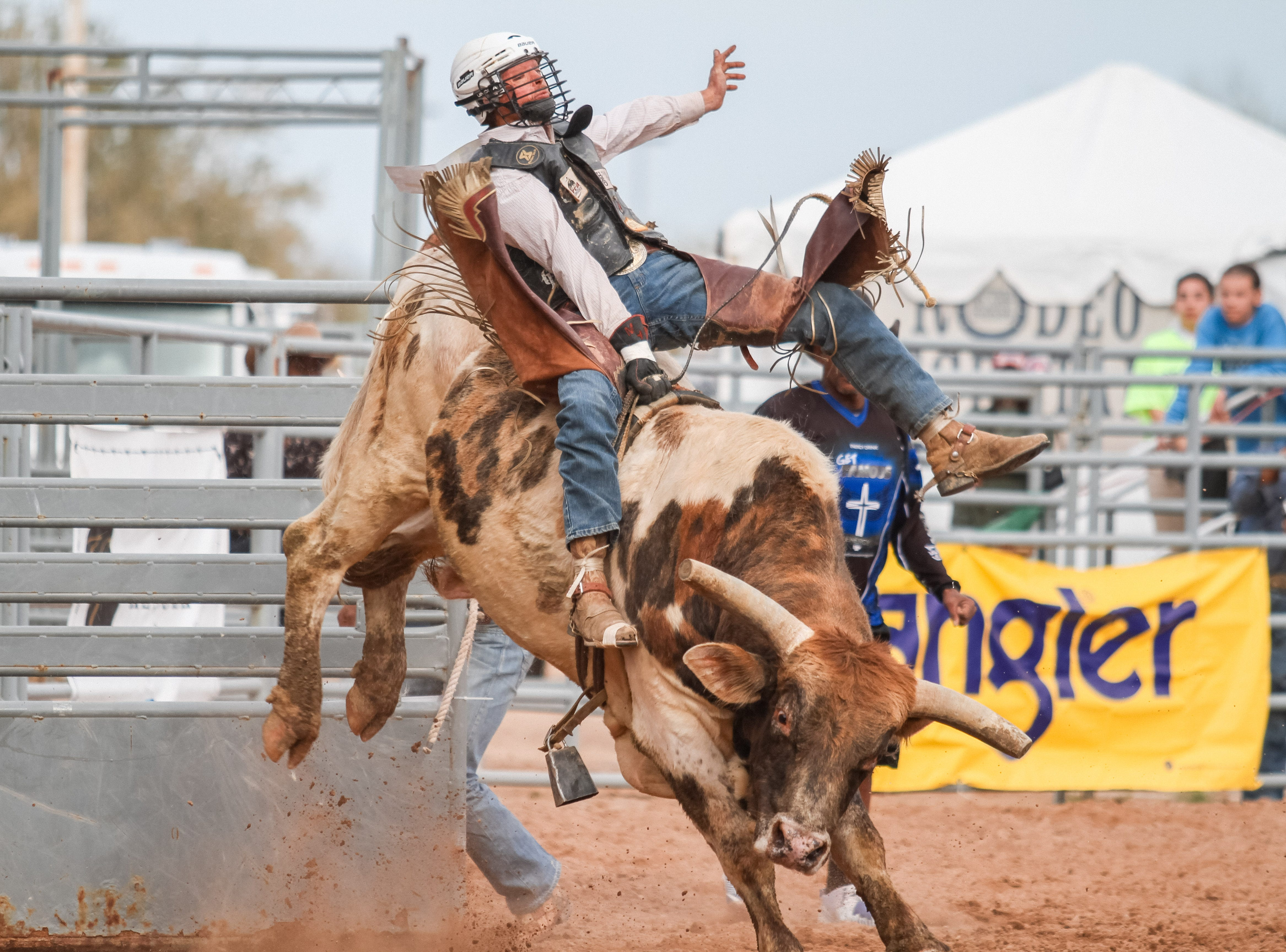 Bull riders compete at the Arizona Black Rodeo in Chandler, Arizona on Saturday, March 9, 2019.