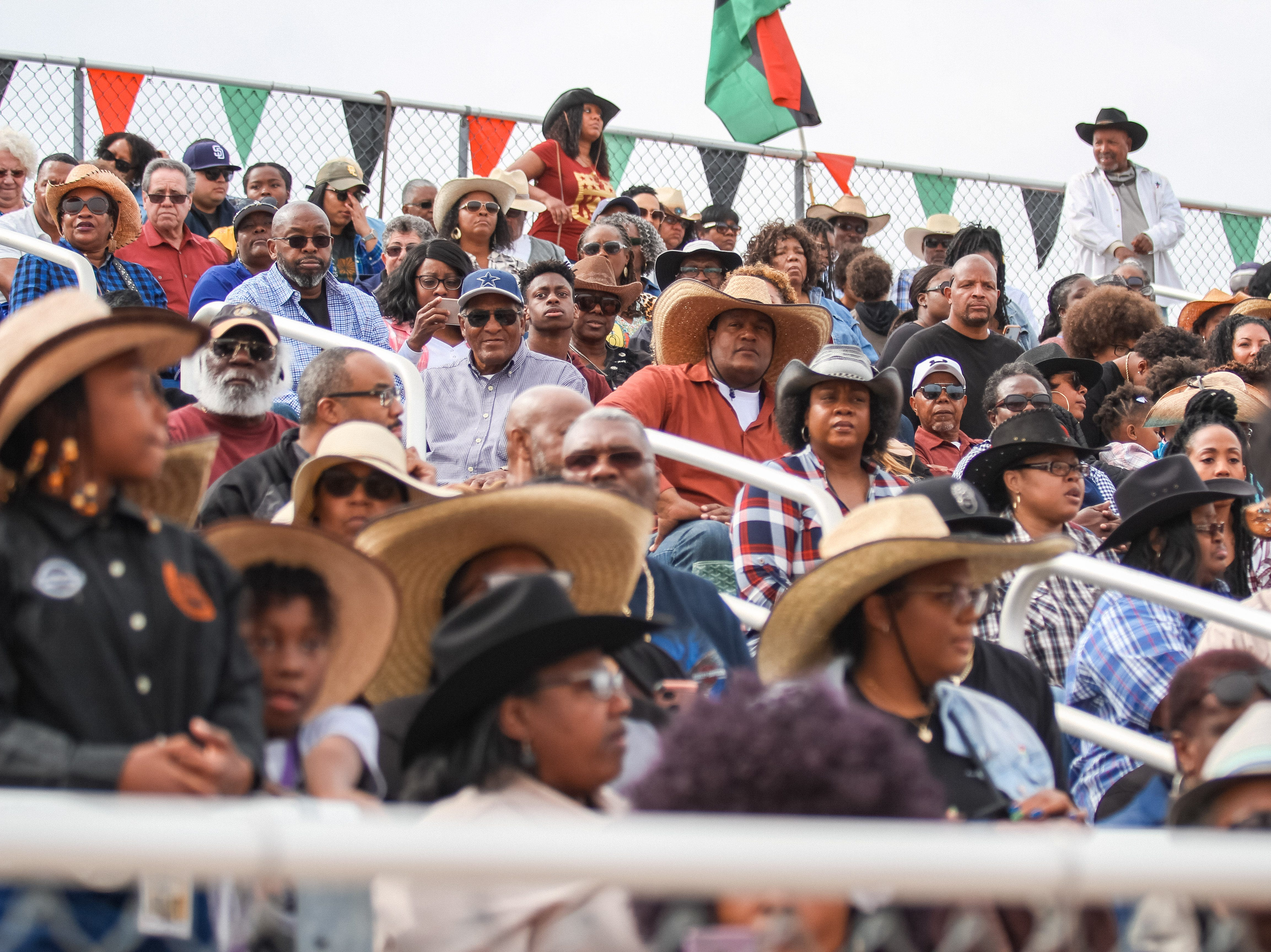 People gather to watch the Arizona Black Rodeo in Chandler, Arizona on Saturday, March 9, 2019.