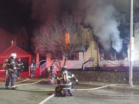 Firefighters battle blaze on South Cherry Street on Saturday night in the City of Poughkeepsie.
